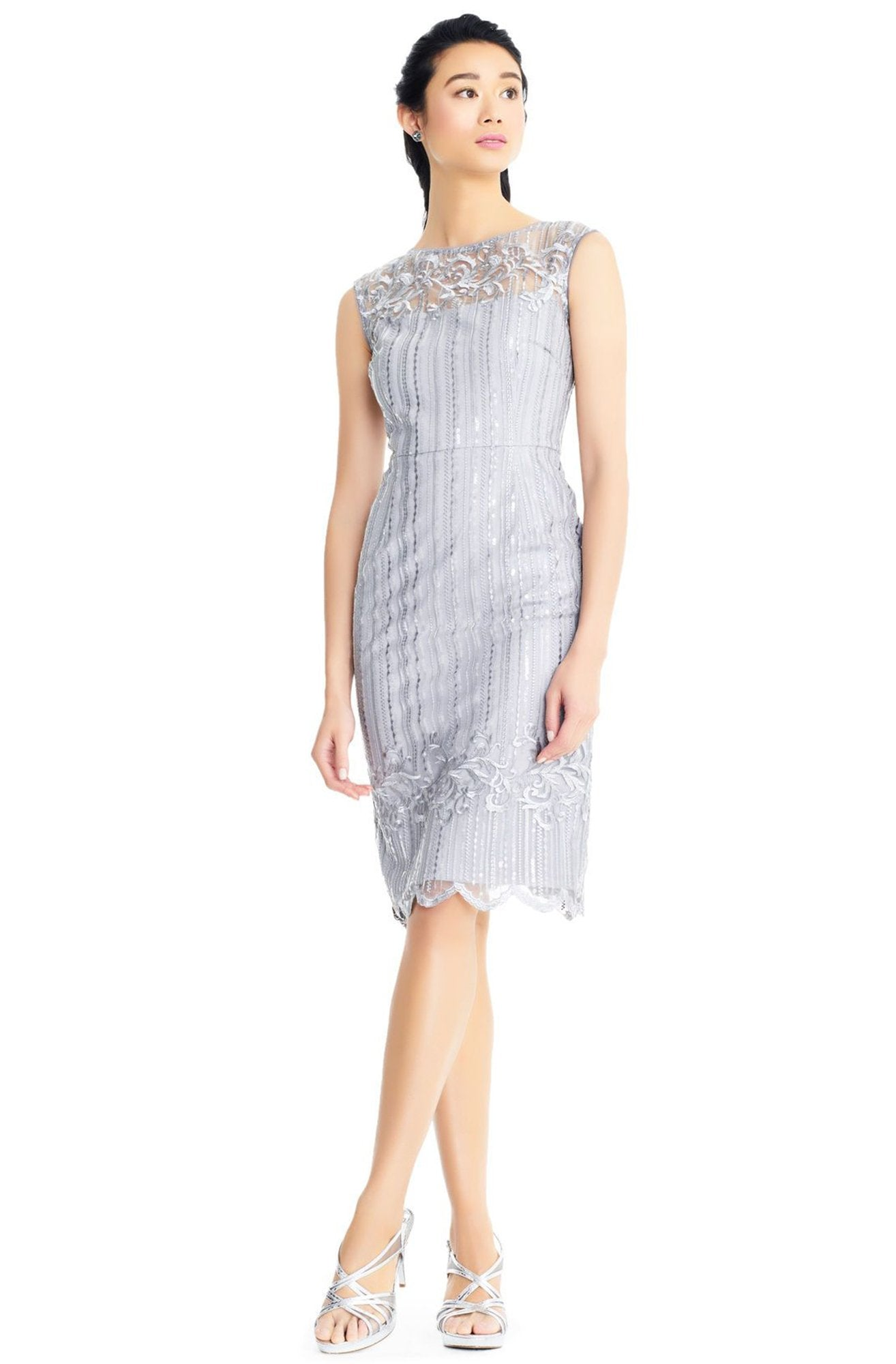 Adrianna Papell - AP1E203525 Embellished Knee Length Fitted Dress In Silver