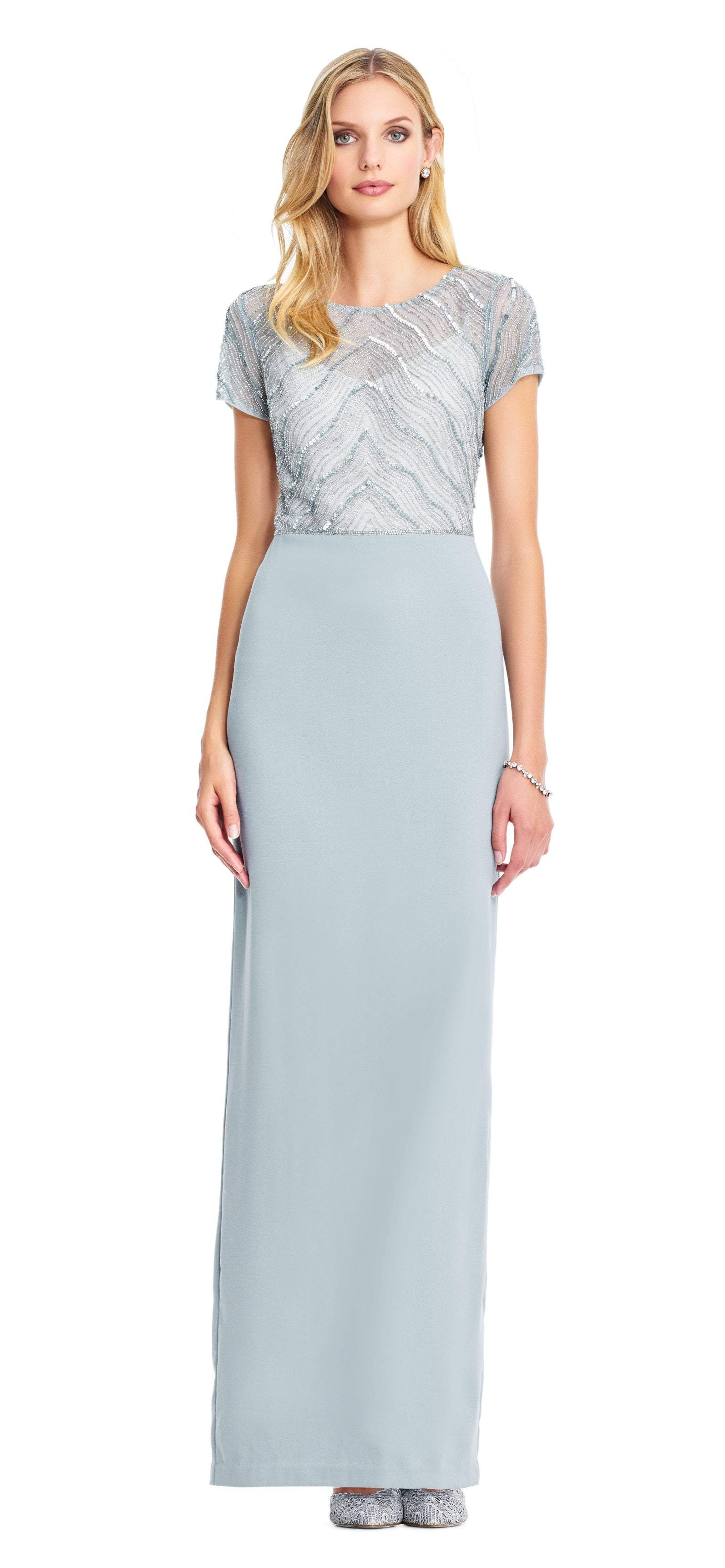 Adrianna Papell - AP1E203629 Bead Embellished Jewel Evening Gown In Blue