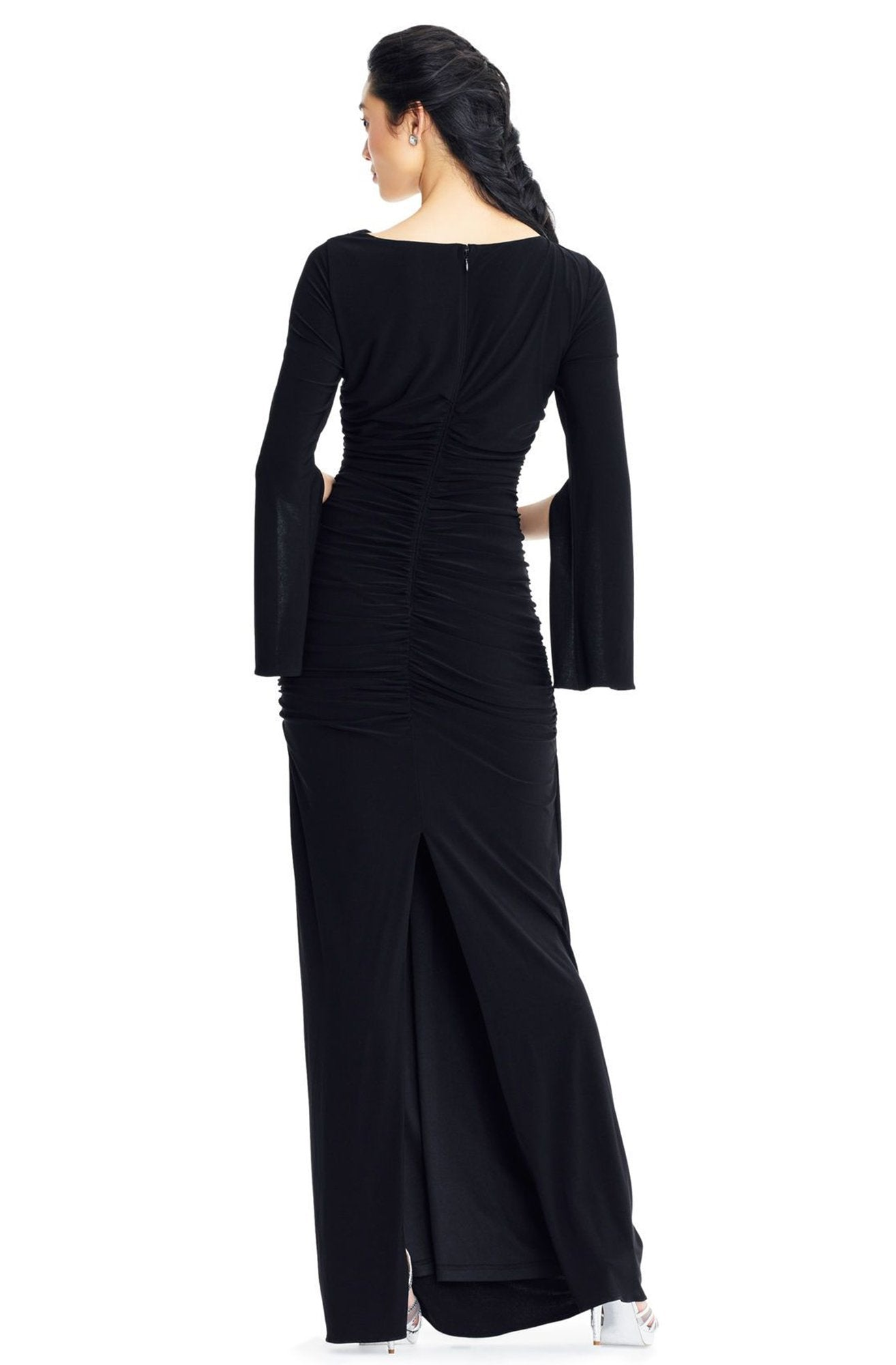 Adrianna Papell - AP1E203780 Split Sleeve Bateau Sheath Dress In Black