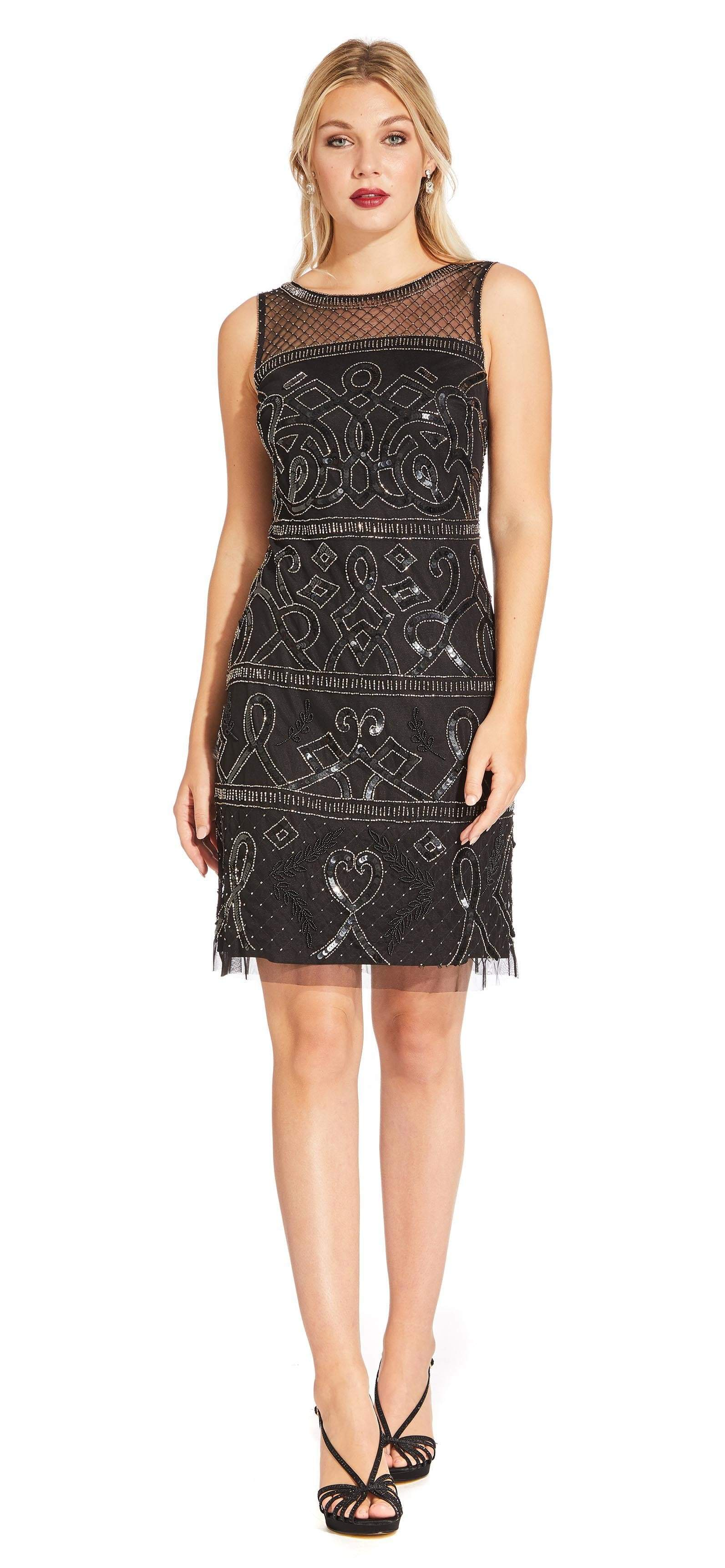 Adrianna Papell - AP1E203952 Beaded Illusion Sheath Cocktail Dress In Black