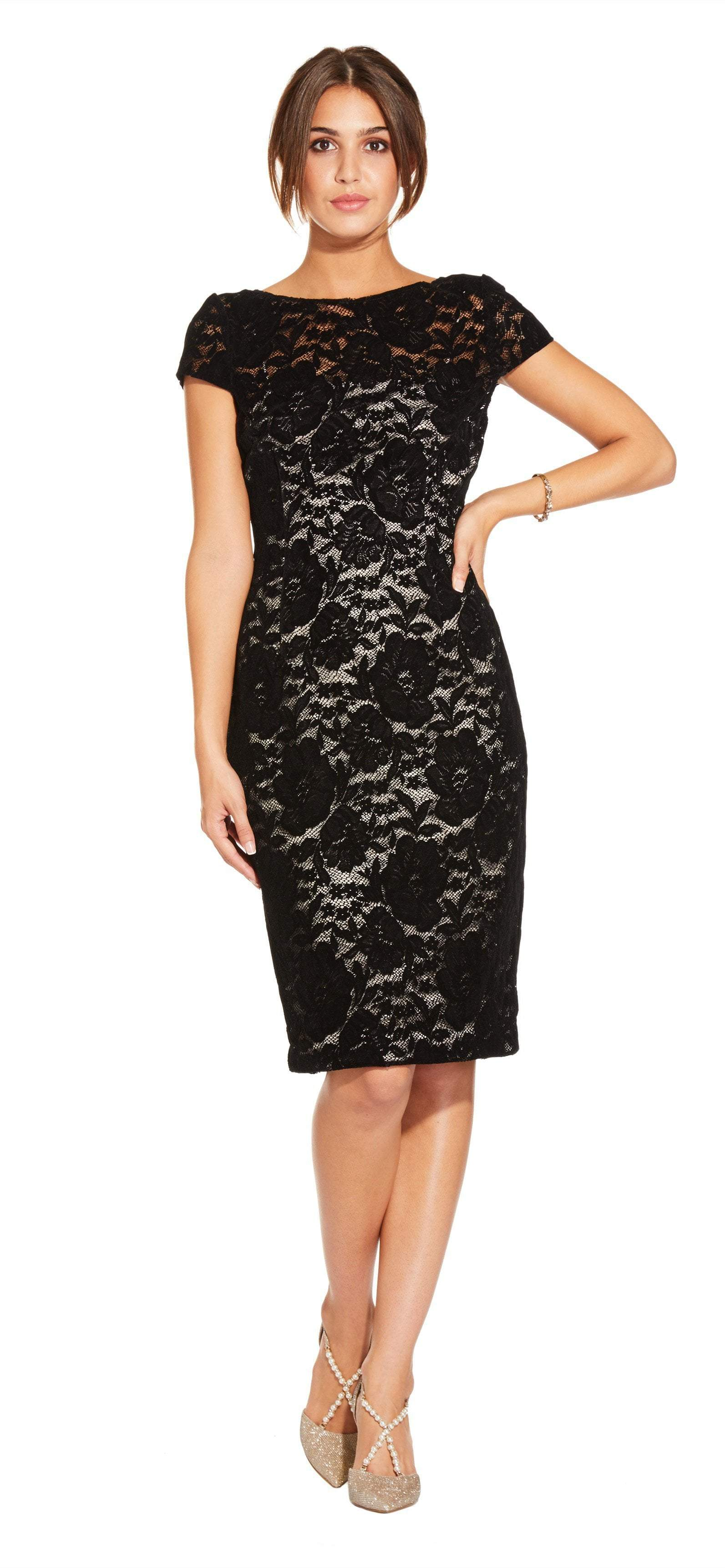 Adrianna Papell - AP1E204098 Floral Lace Cap Sleeve Sheath Dress In Black and Neutral