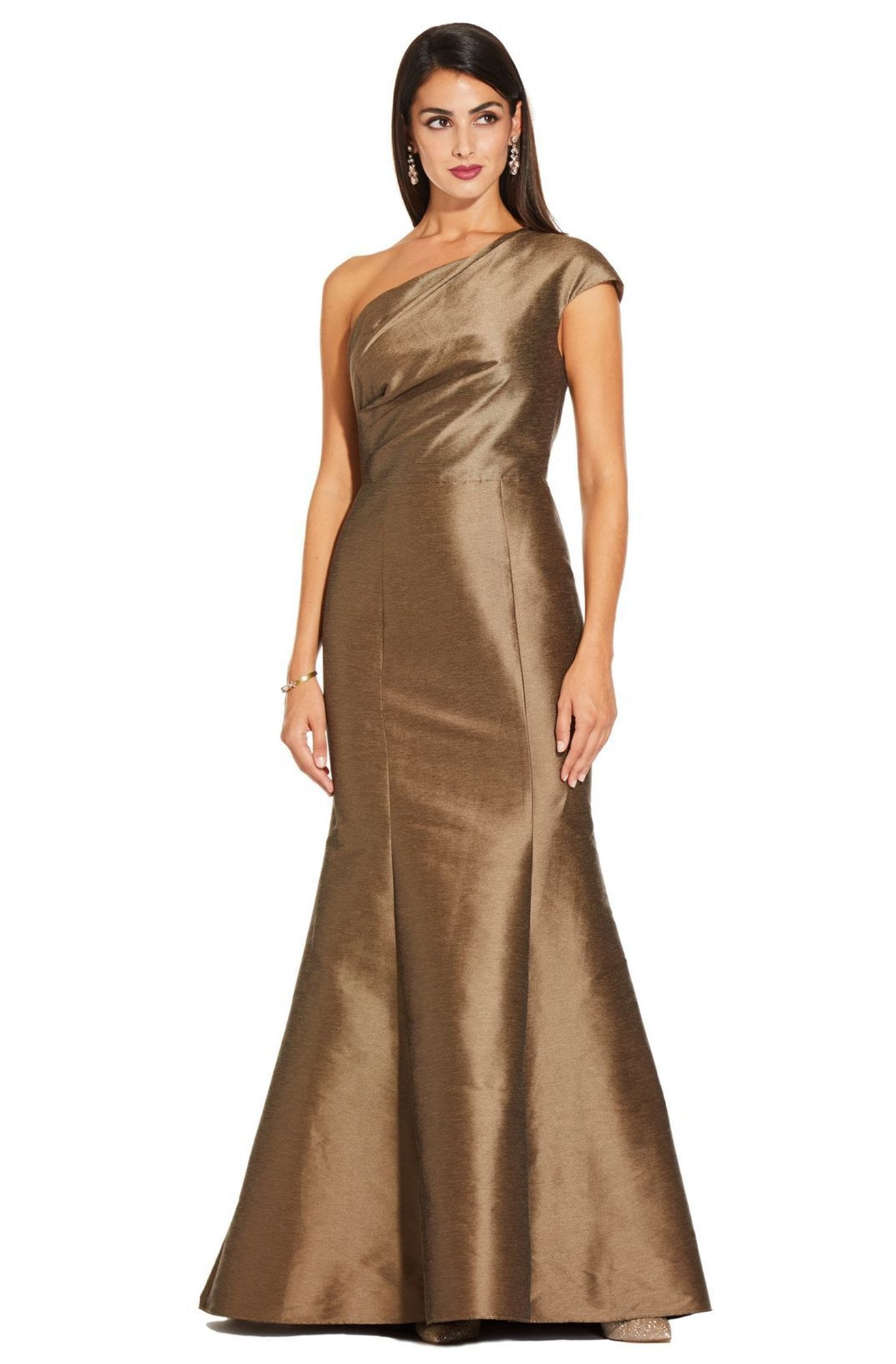 Adrianna Papell - AP1E204211 One Shoulder Taffeta Trumpet Gown In Brown