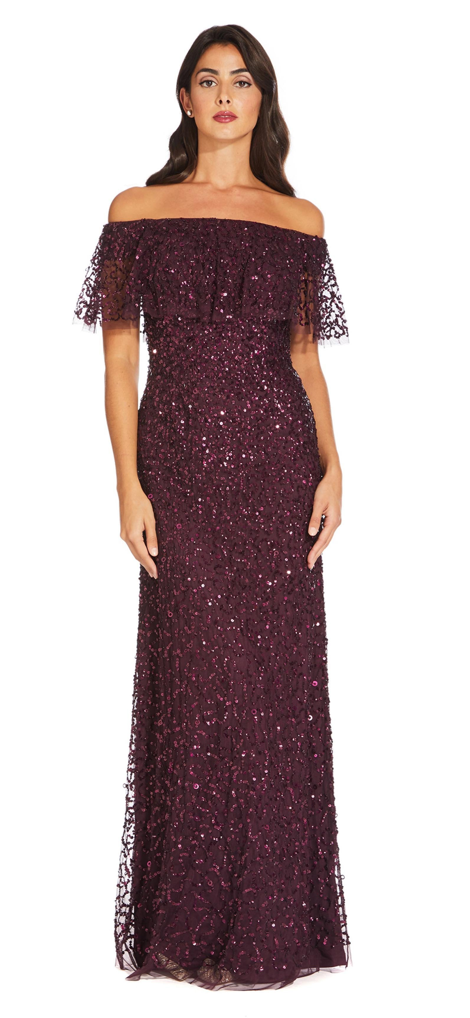 Adrianna Papell - AP1E204277 Sequin Embellished Off-Shoulder Dress In Purple