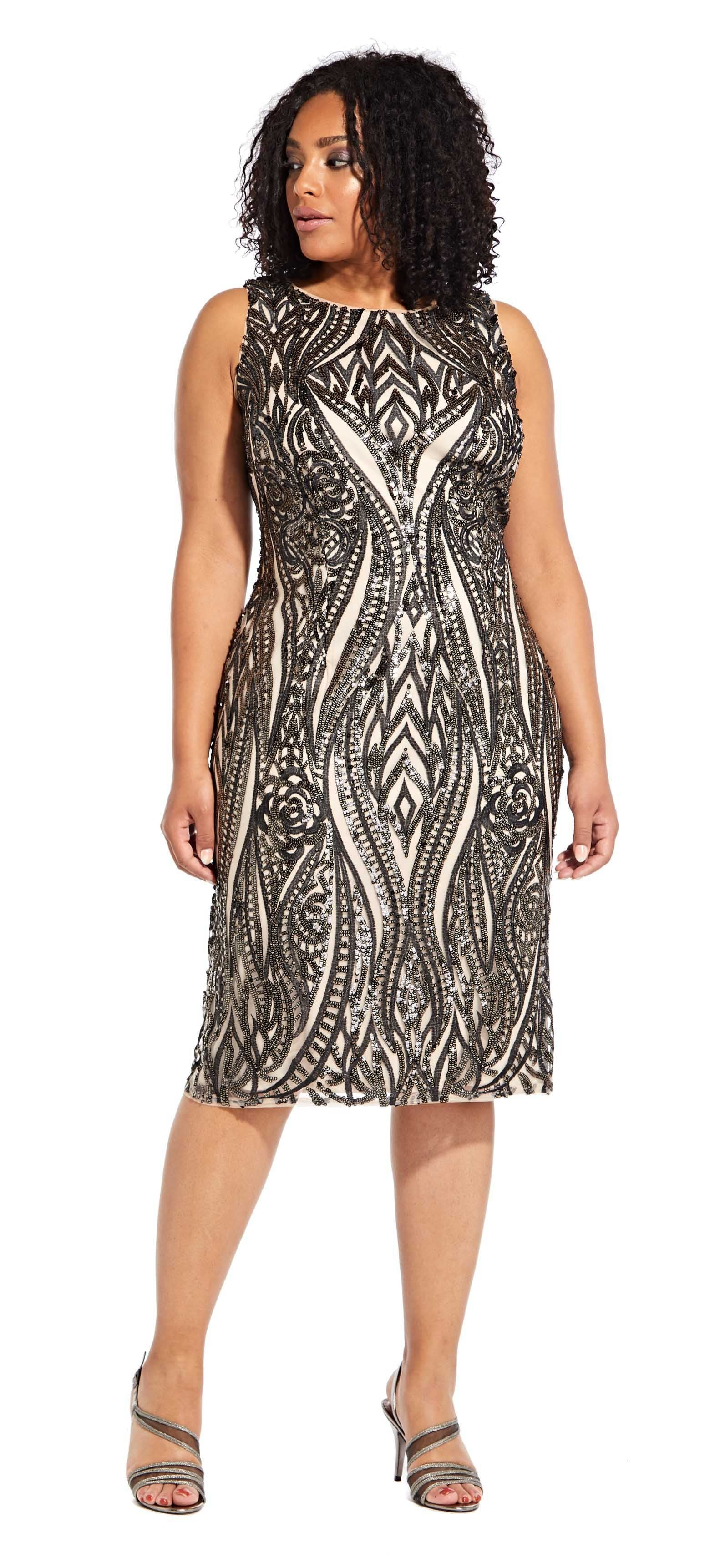 Adrianna Papell - AP1E204314 Sequined Jewel Cocktail Dress In Black and Nude