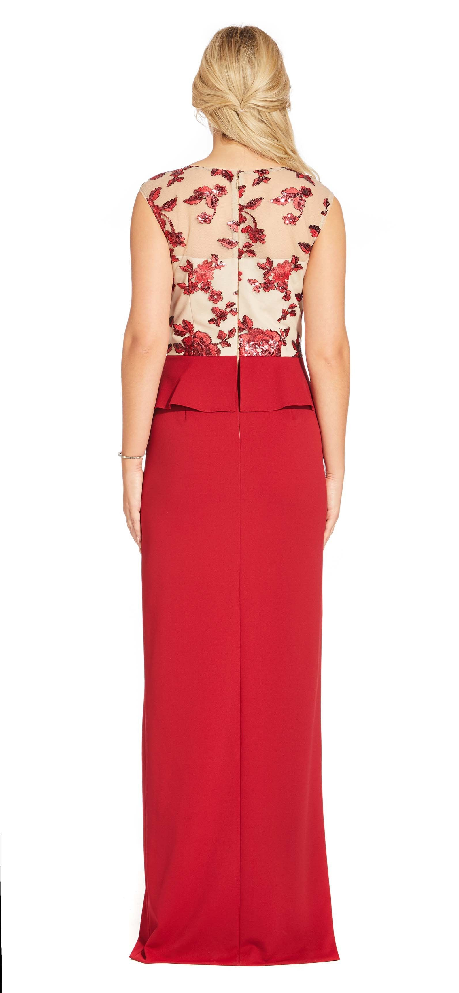 Adrianna Papell - AP1E204361 Floral Sequined Peplum Dress with Slit In Red and Nude