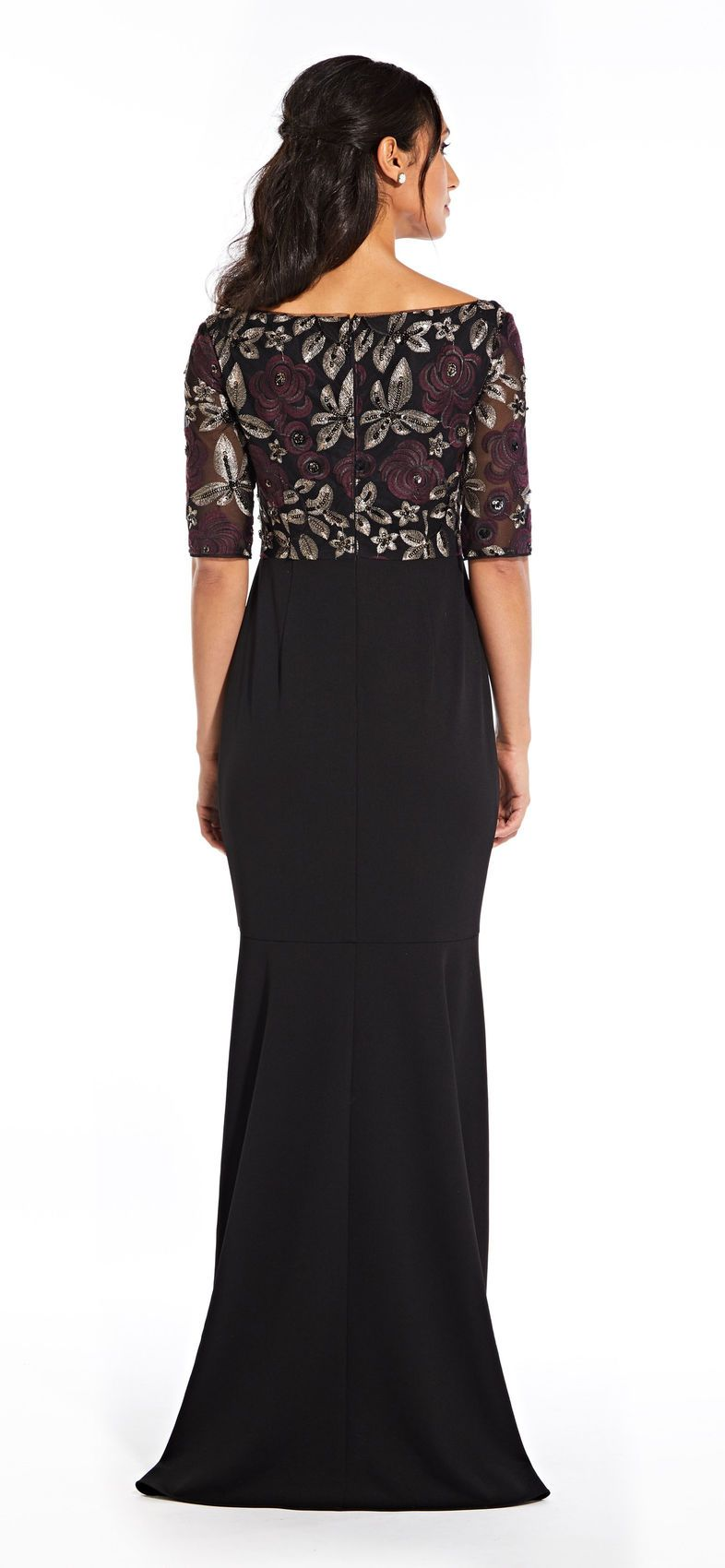 Adrianna Papell - AP1E204611 Floral V-Neck High Low Dress In Purple and Black