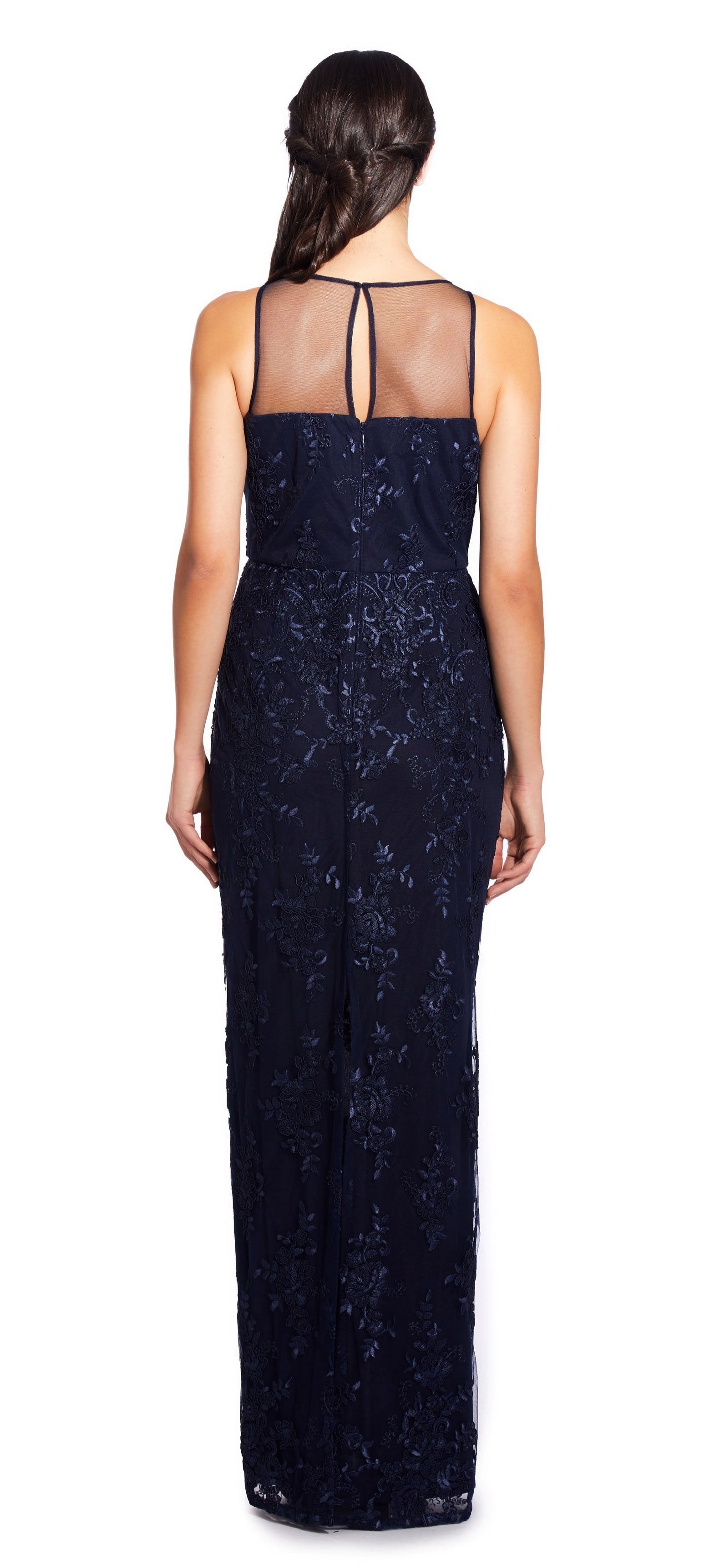 Adrianna Papell - AP1E204699 Embroidered Illusion Sheath Dress In Blue