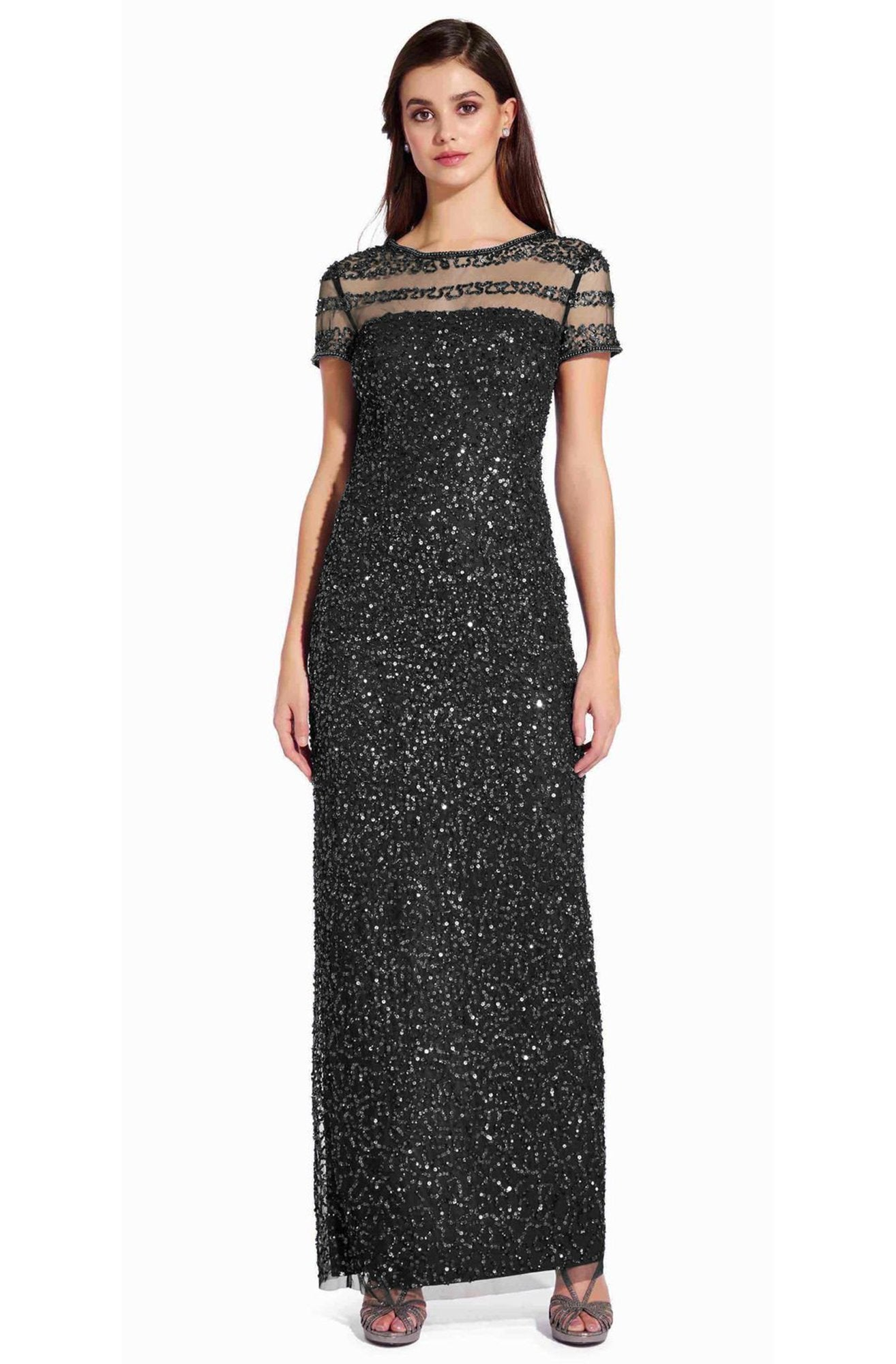 Adrianna Papell - AP1E205064 Short Sleeve Sheer Shoulders Sequin Dress In Black