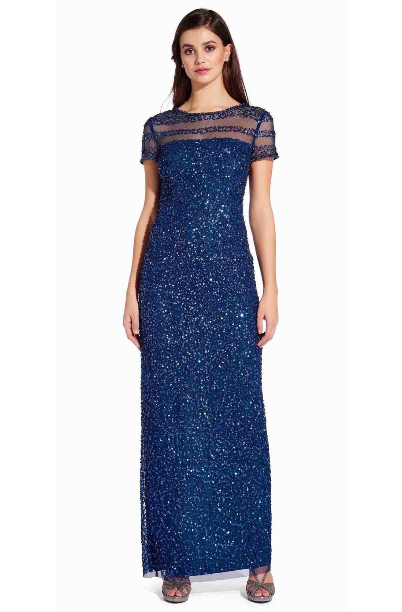 Adrianna Papell - AP1E205064 Short Sleeve Sheer Shoulders Sequin Dress In Blue