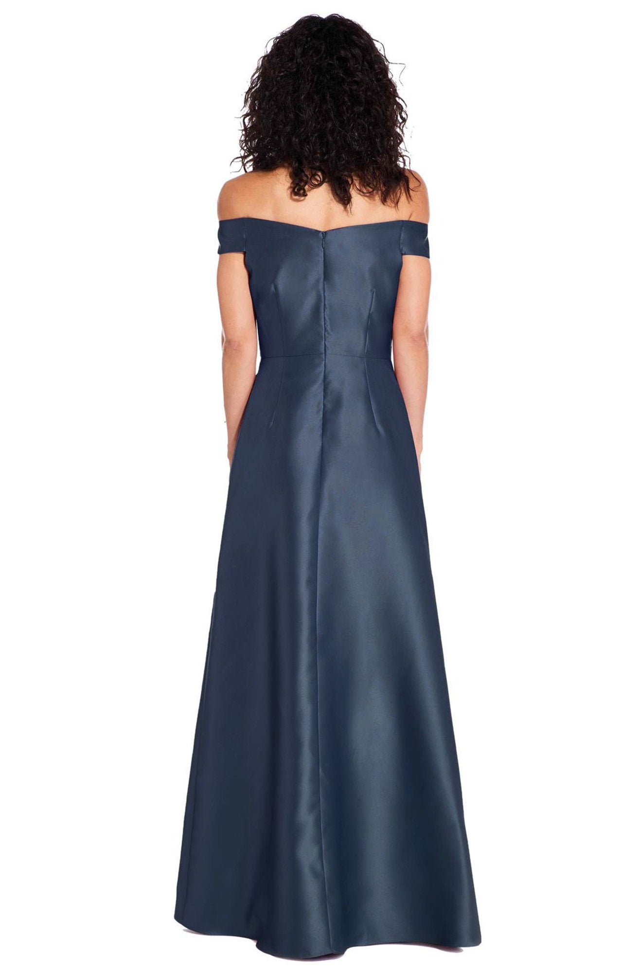 Adrianna Papell - AP1E205108 Off-Shoulder Pleated Mikado A-line Dress In Blue