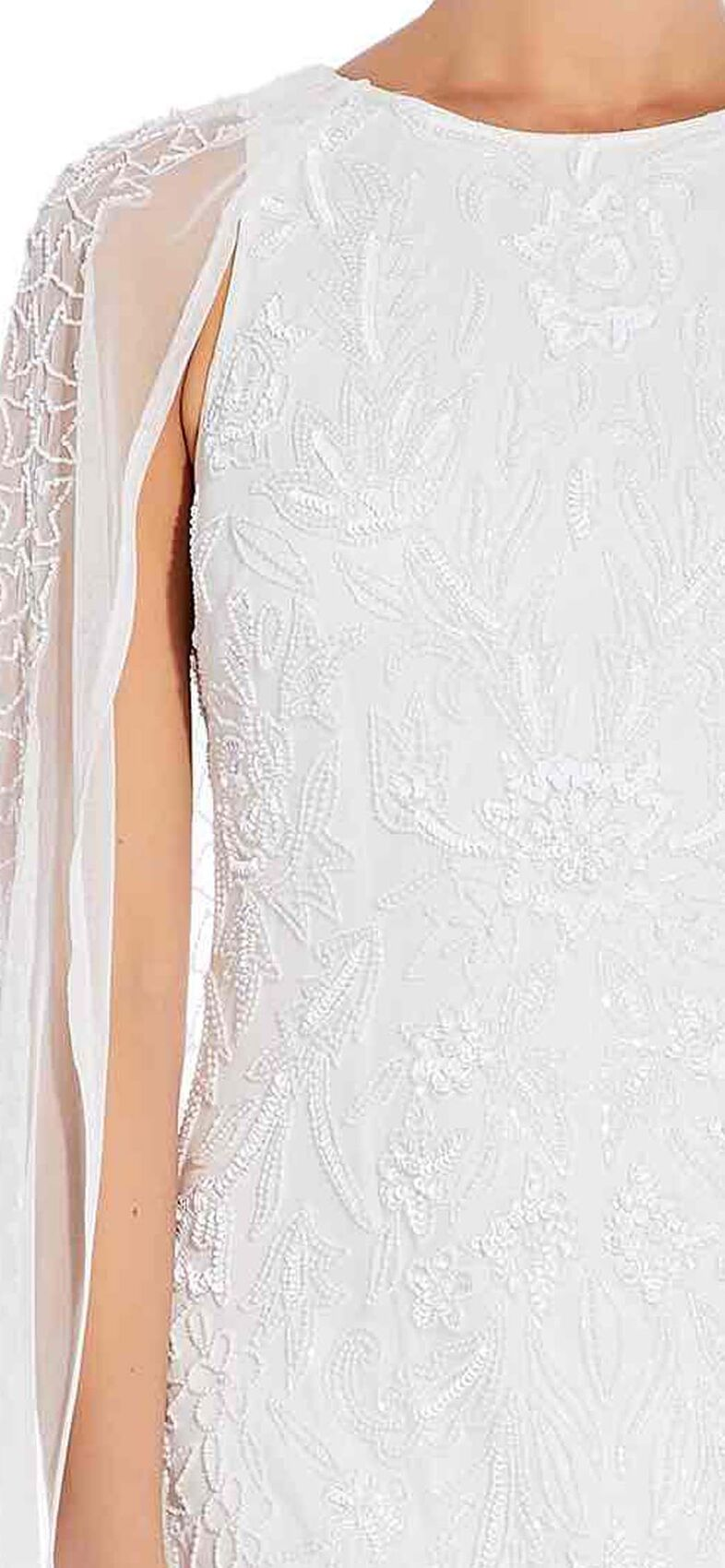 Adrianna Papell - AP1E205287 Beaded Bateau Dress With Cape Sleeves In White