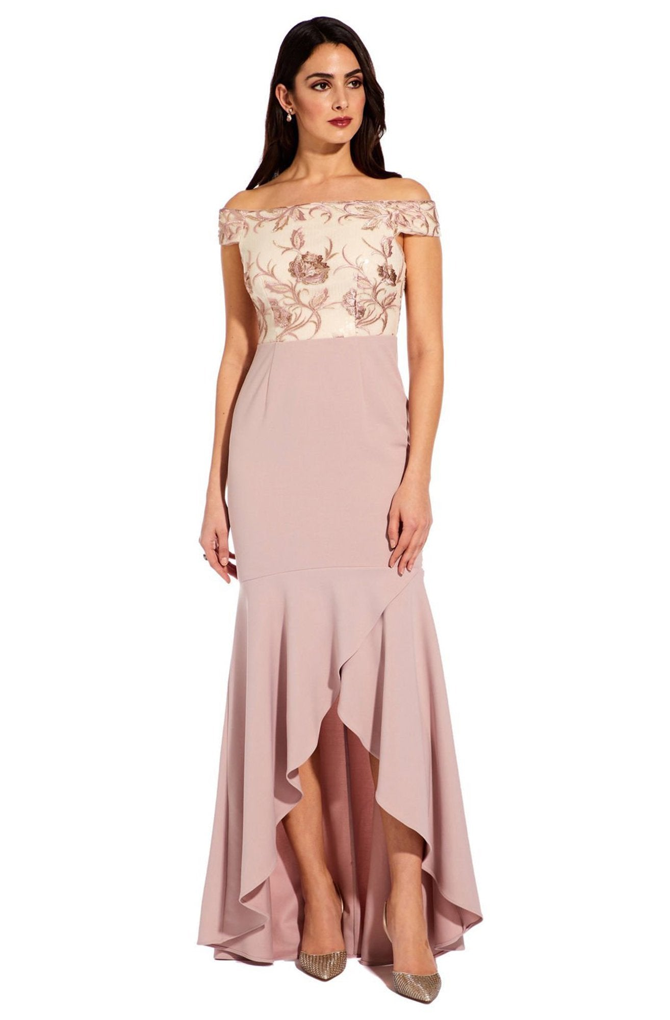 Adrianna Papell - AP1E205308 Embroidered Off-Shoulder Trumpet Dress In Pink