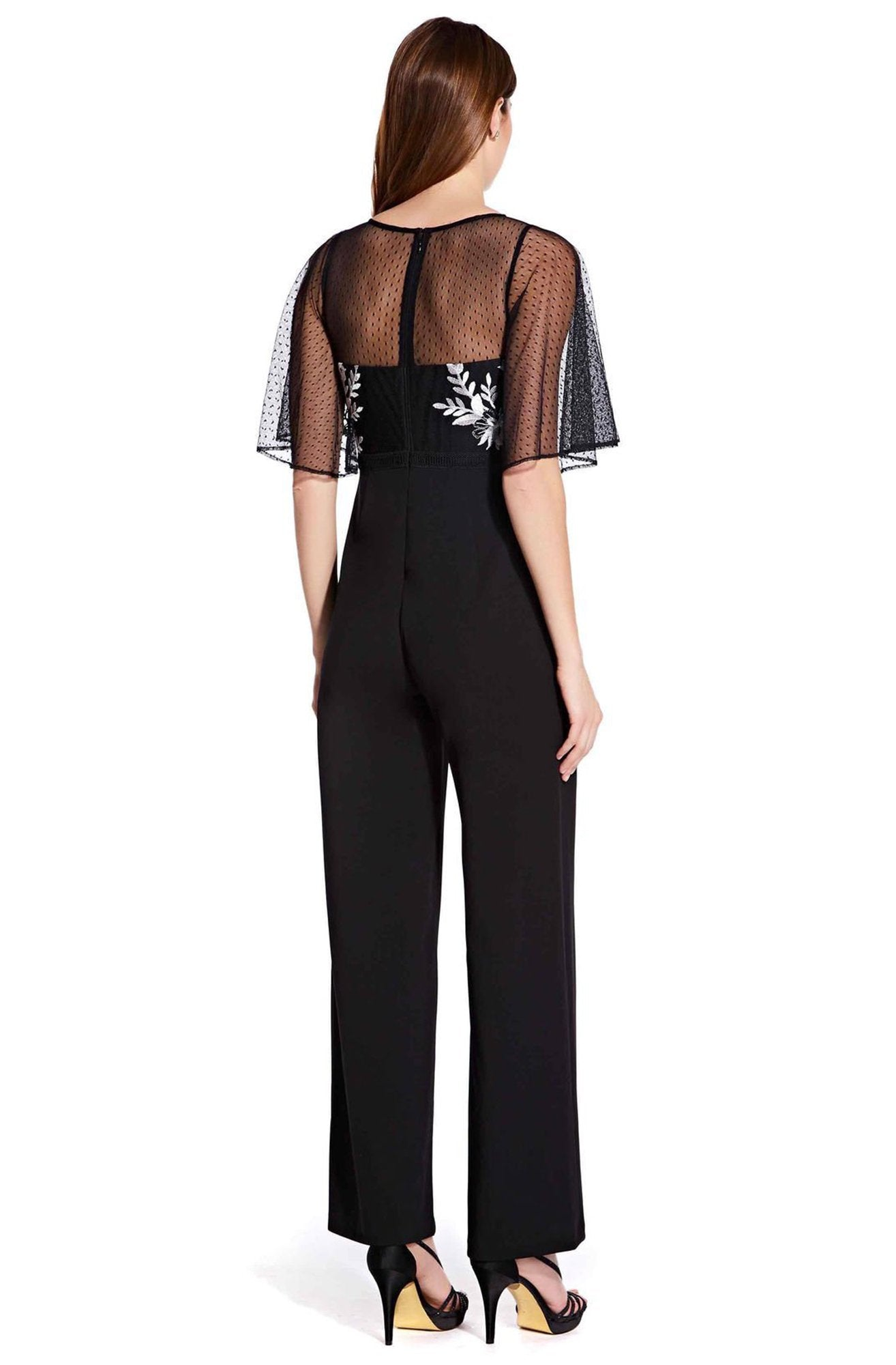Adrianna Papell - AP1E205755 Floral Embroidered Jumpsuit In Black and White