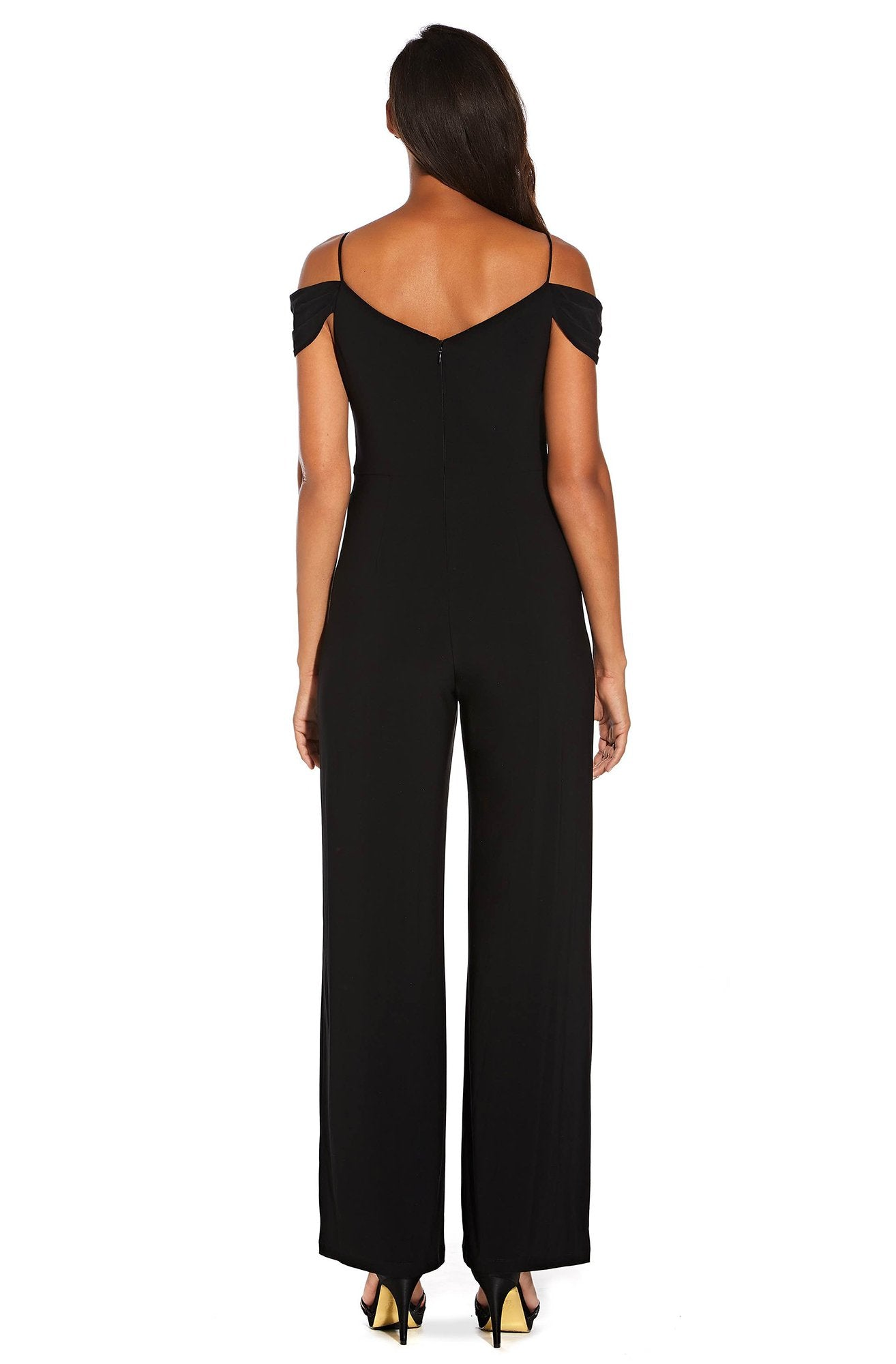 Adrianna Papell - AP1E206048 Gathered V-neck Jumpsuit In Black