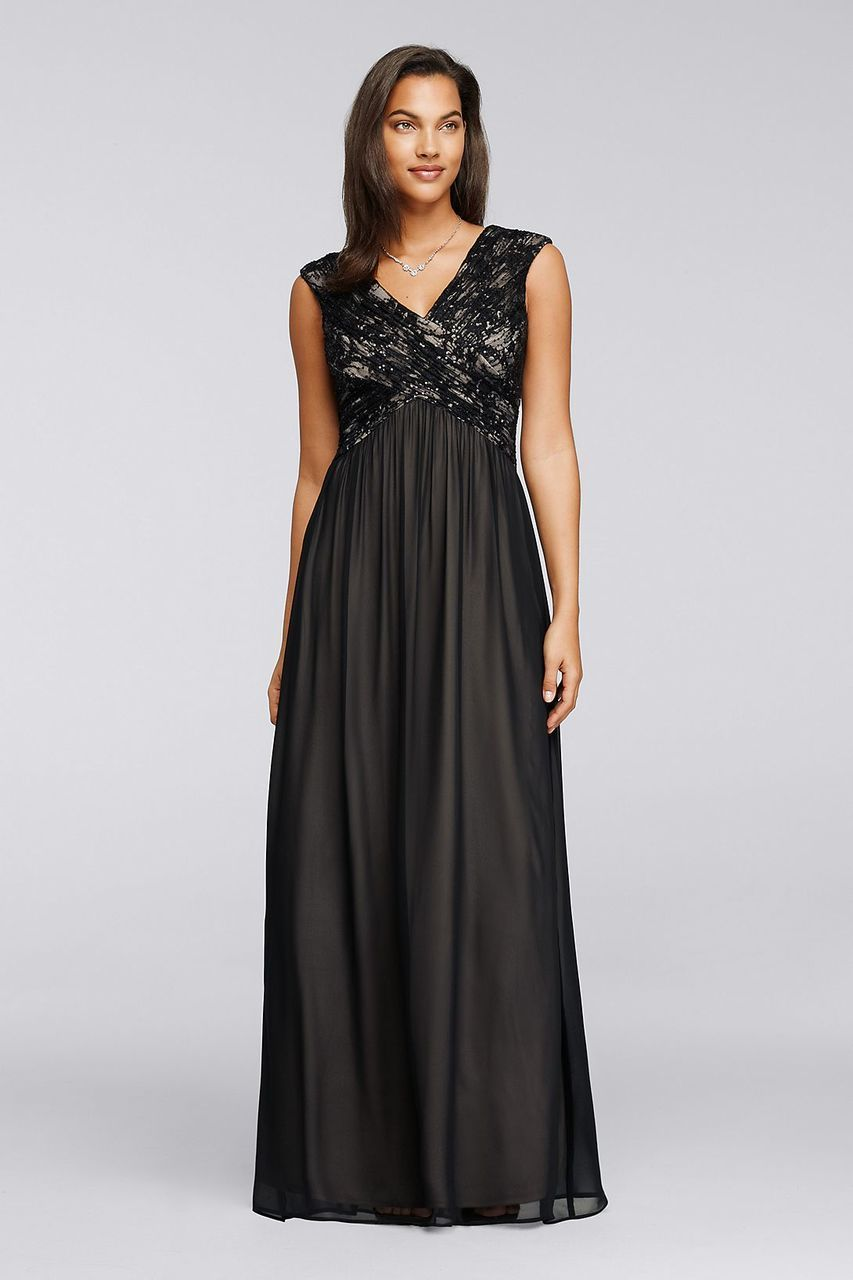 Sangria - ADWKOJ57 Cap Sleeve Sequined Empire Gown in Black and Neutral