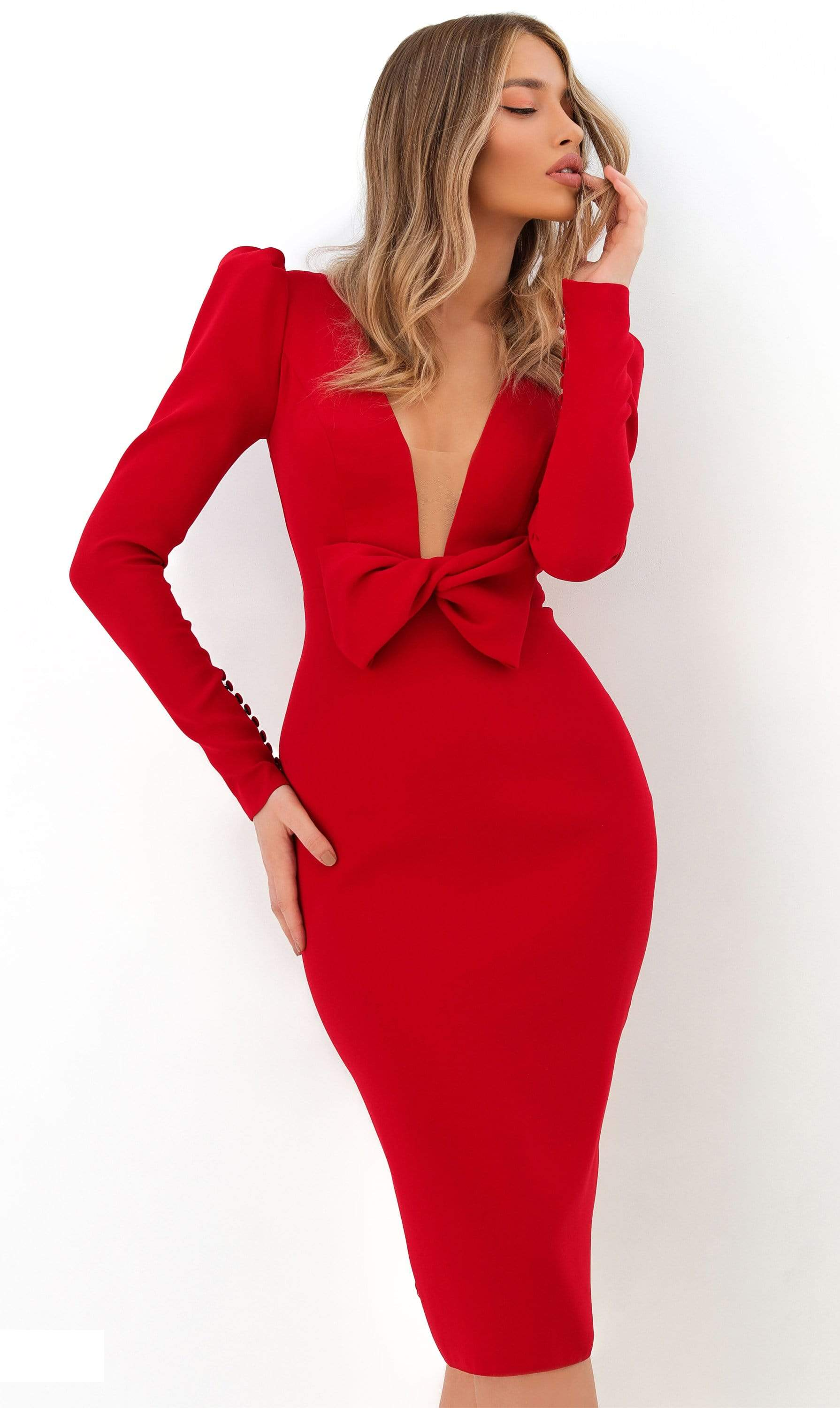Tarik Ediz - 93815 Long Sleeve Bow Accented Cocktail Dress in Red