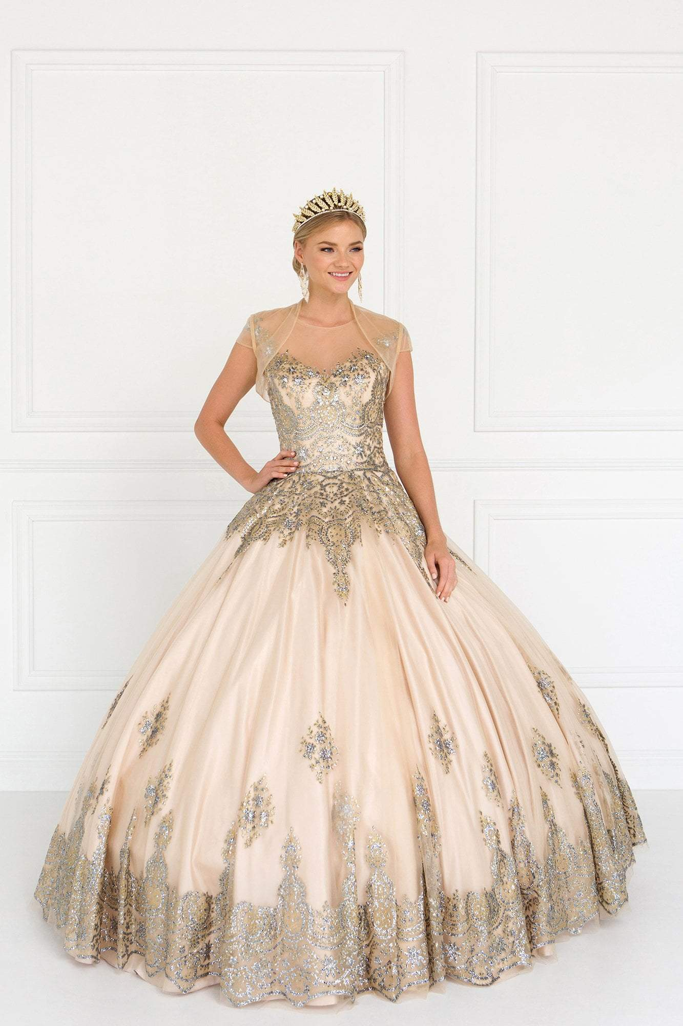 Elizabeth K - GL1590 Embellished Ballgown With Sheer Bolero In Neutral