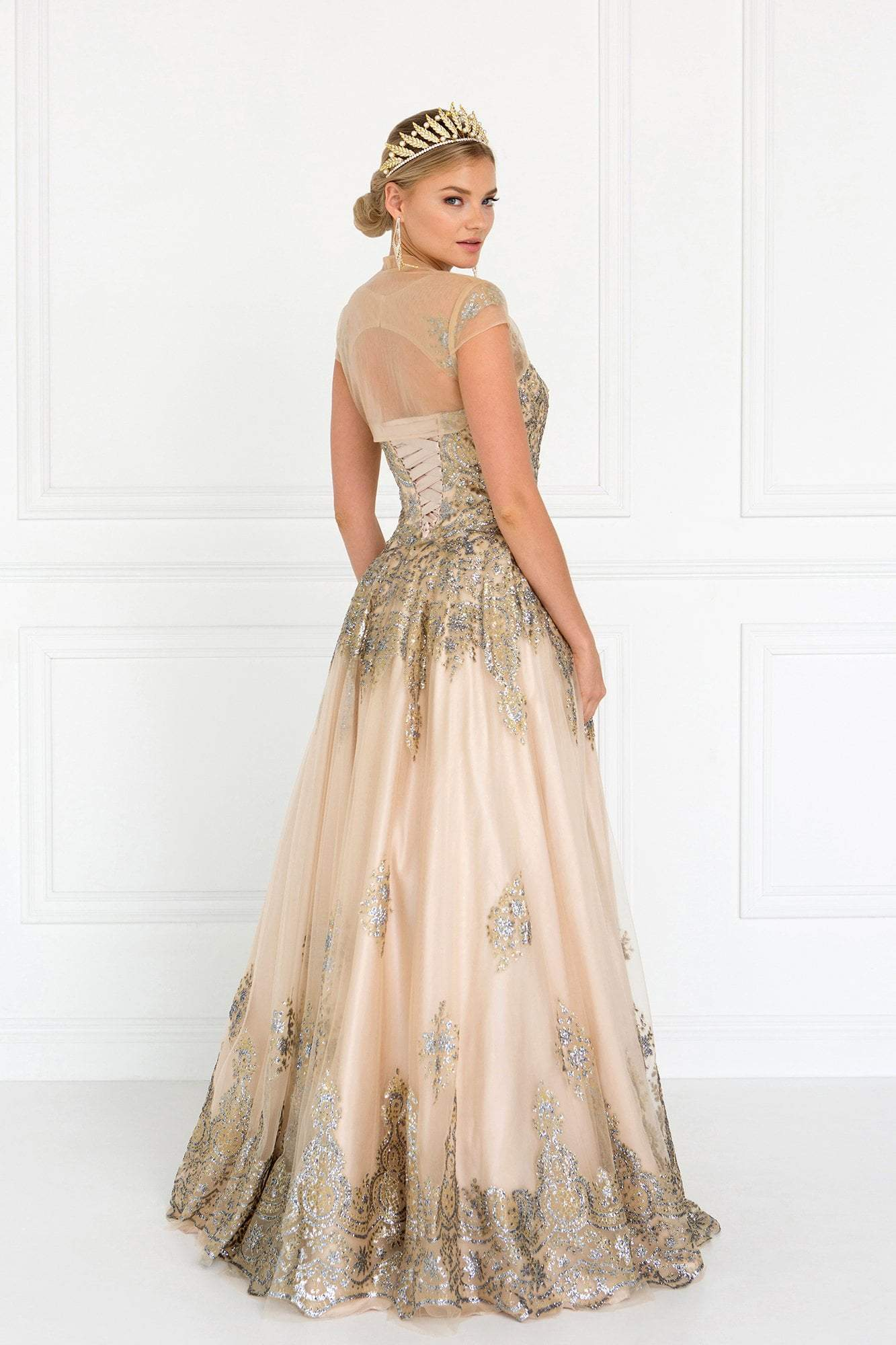 Elizabeth K - GL1590 Embellished Ballgown With Sheer Bolero In Nude
