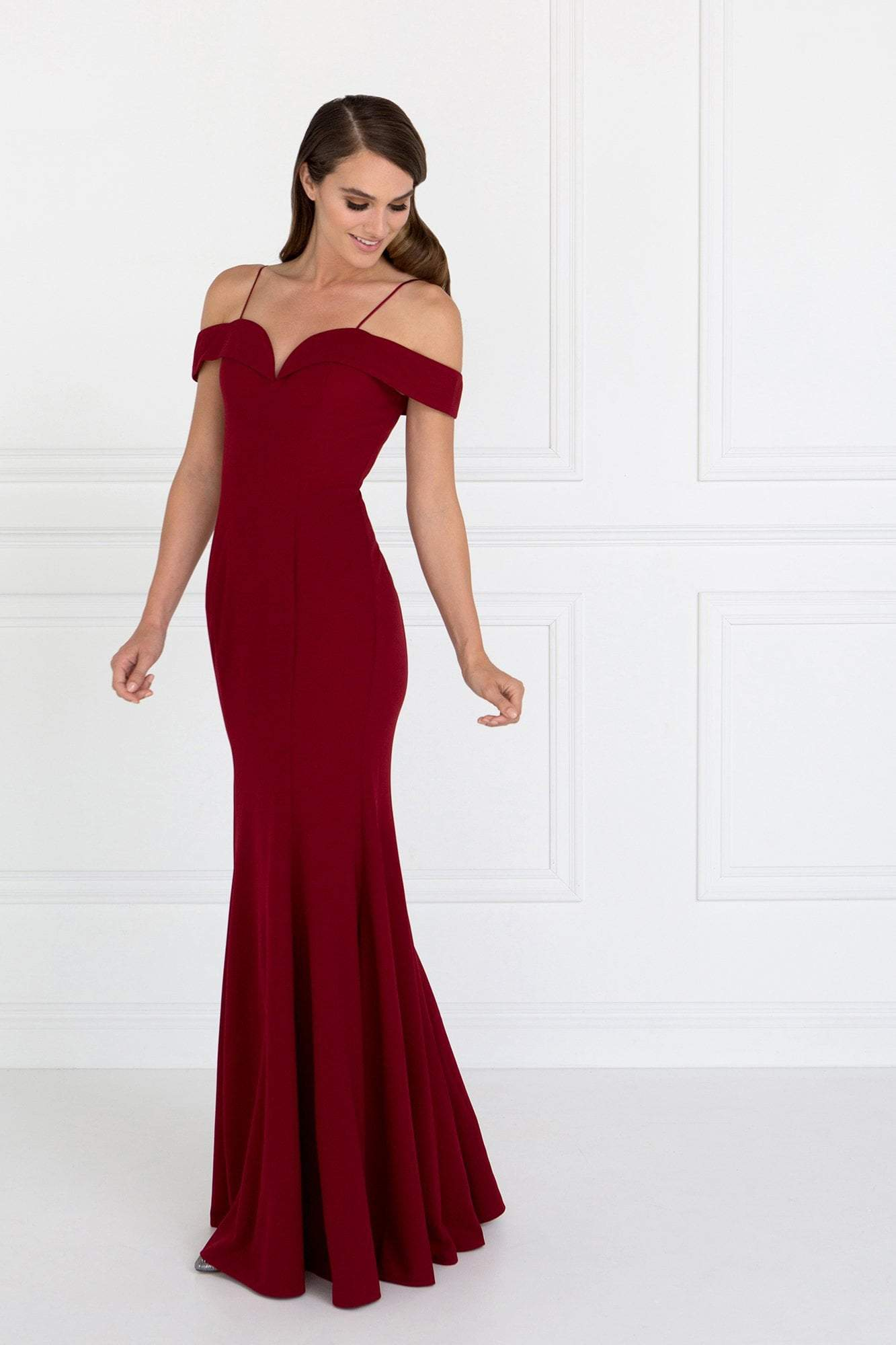 Elizabeth K - GL1593 Jersey Sweetheart Cold Shoulders Mermaid Gown In Red