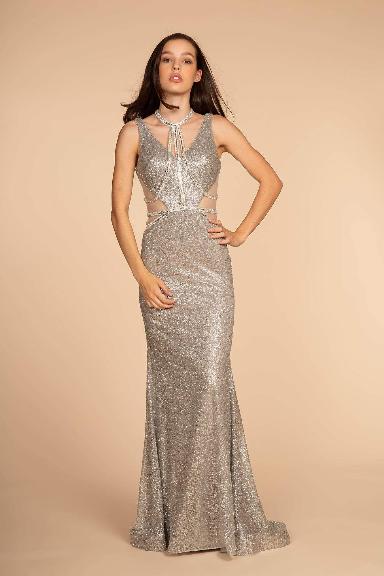 Elizabeth K - GL2509 Jeweled Halter Strap Glitter Long Gown Special Occasion Dress XS / Silver