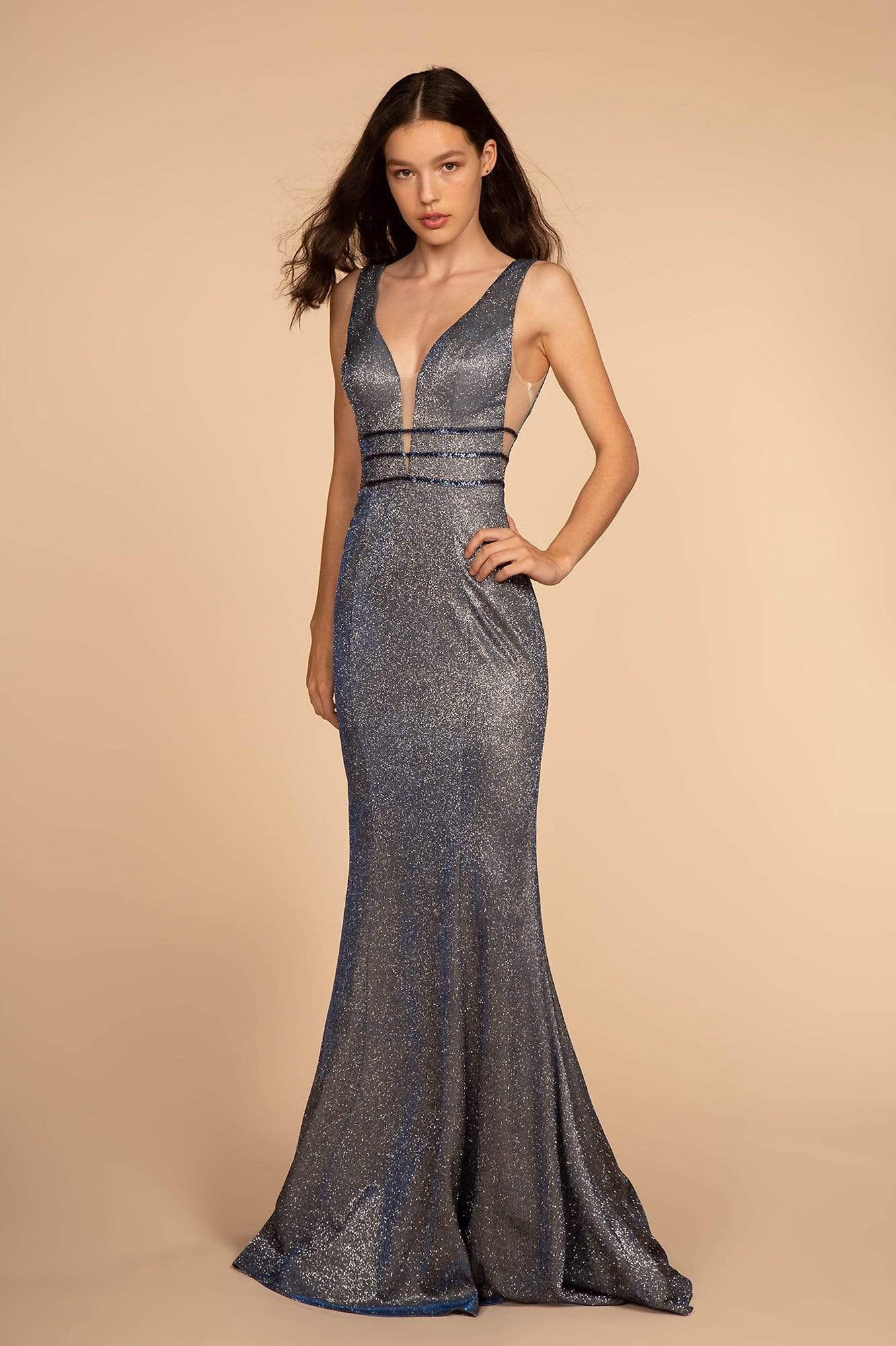 Elizabeth K - GL2588 Plunging V-Neck Triband Mermaid Gown Special Occasion Dress XS / Navy