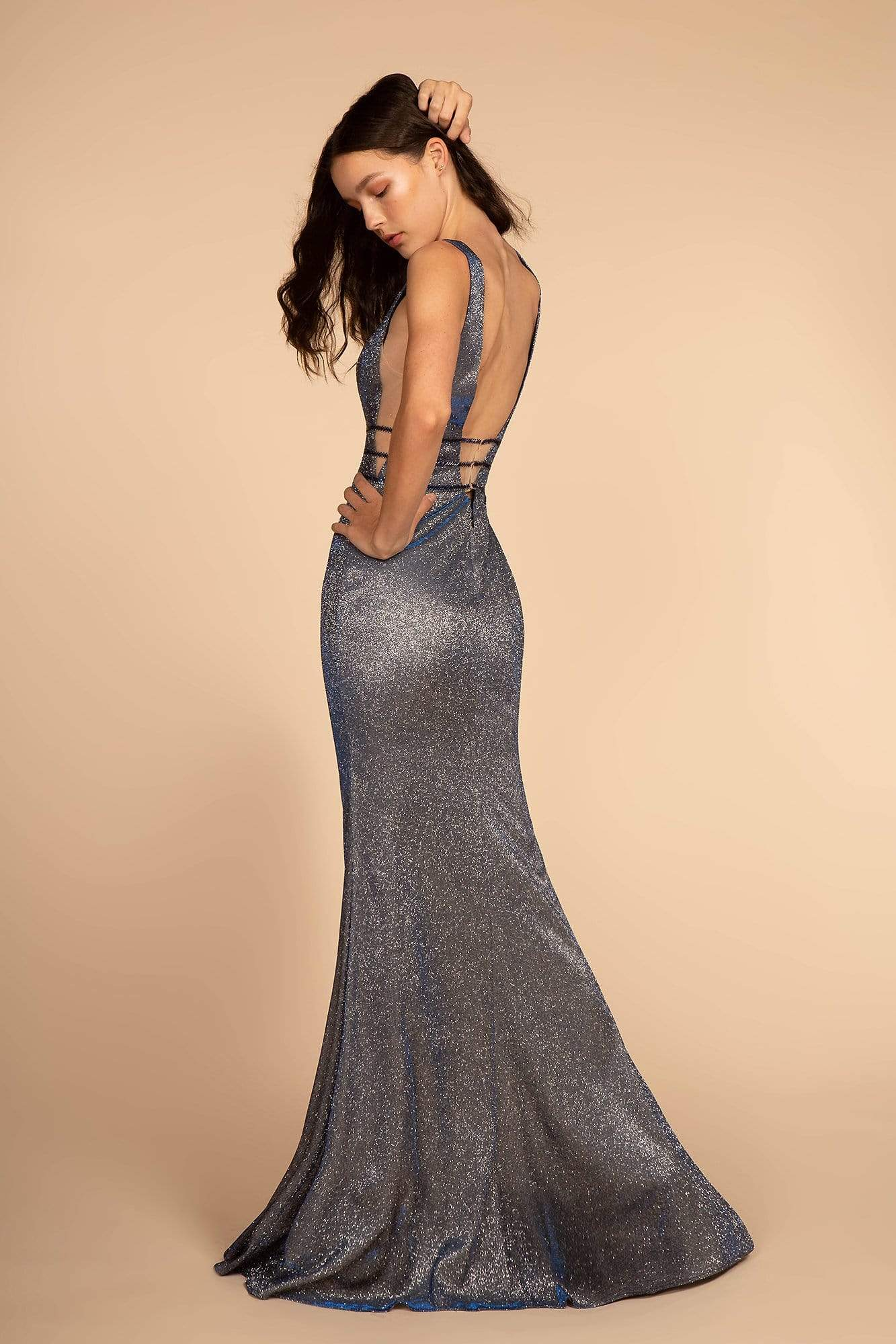 Elizabeth K - GL2588 Plunging V-Neck Triband Mermaid Gown Special Occasion Dress