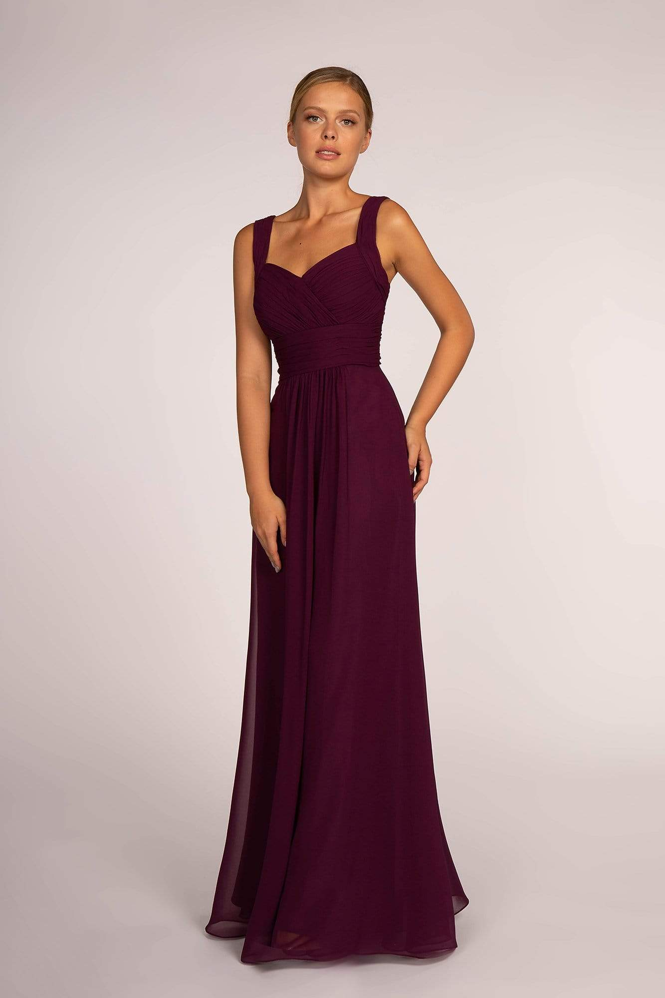 Elizabeth K - GL2608 Sleeveless Ruched-Bodice A-Line Chiffon Gown In Purple and Red