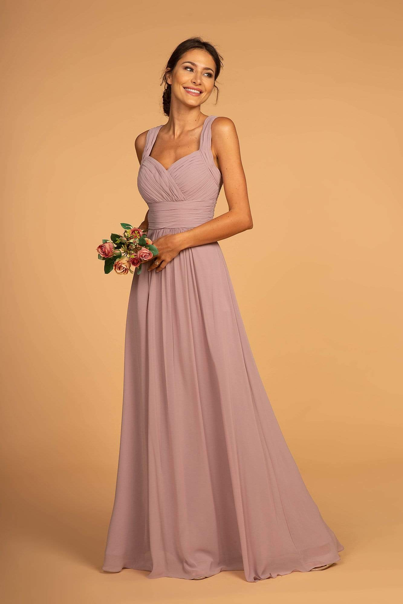 Elizabeth K - GL2608 Sleeveless Ruched-Bodice A-Line Chiffon Gown In Neutral and Purple