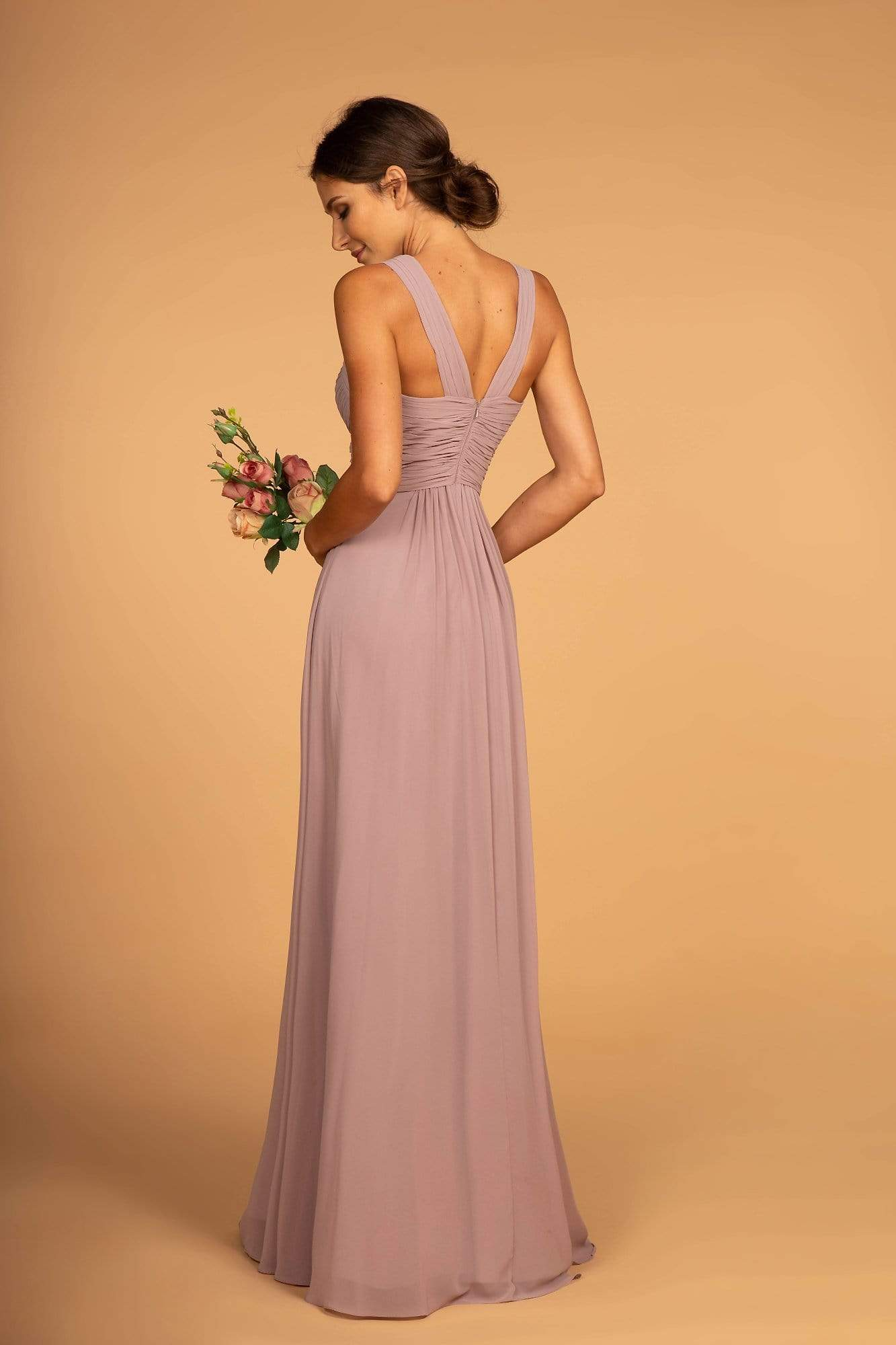 Elizabeth K - GL2608 Sleeveless Ruched-Bodice A-Line Chiffon Gown Formal Gowns