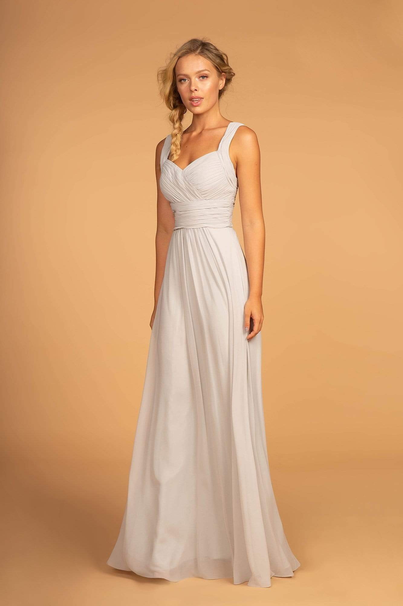Elizabeth K - GL2608 Sleeveless Ruched-Bodice A-Line Chiffon Gown Formal Gowns XS / Silver