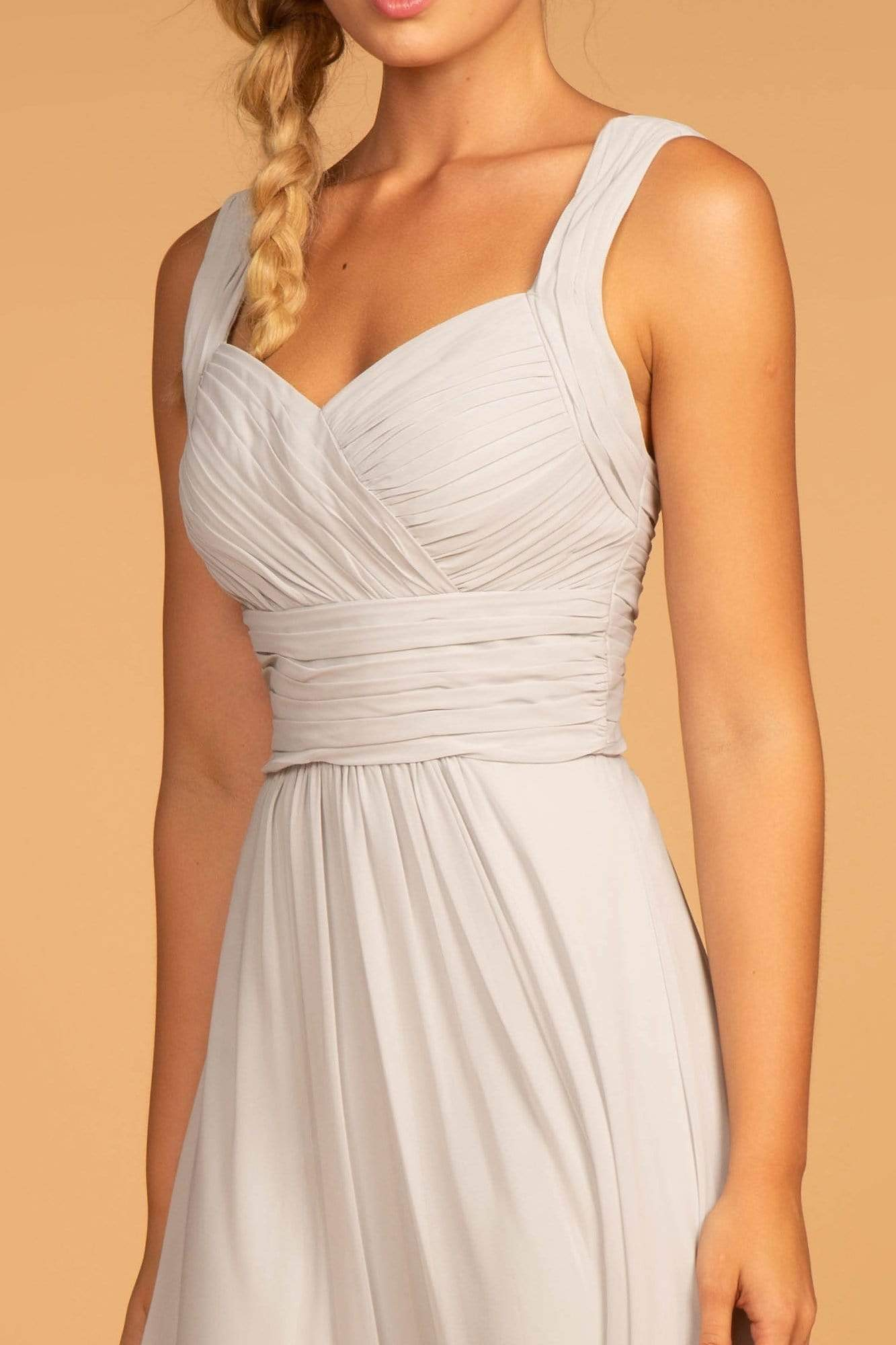 Elizabeth K - GL2608 Sleeveless Ruched-Bodice A-Line Chiffon Gown In Silver