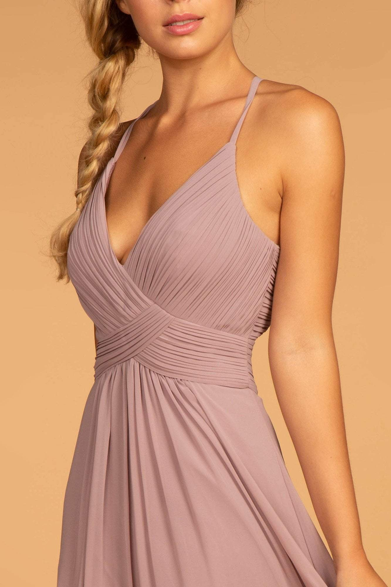 Elizabeth K - GL2609 Plunging V-Neck Pleated Bodice A-Line Gown In Purple