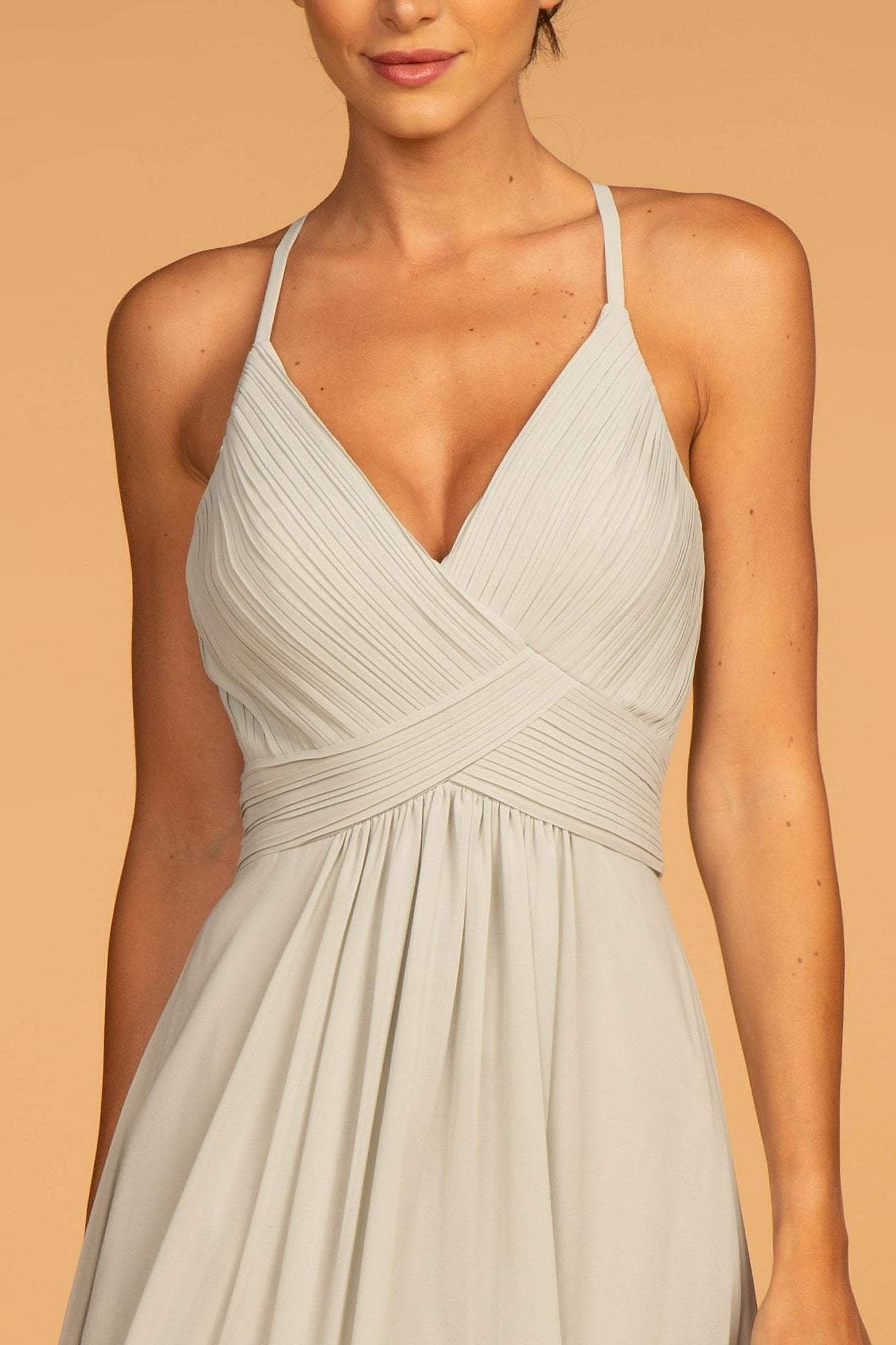 Elizabeth K - GL2609 Plunging V-Neck Pleated Bodice A-Line Gown In White