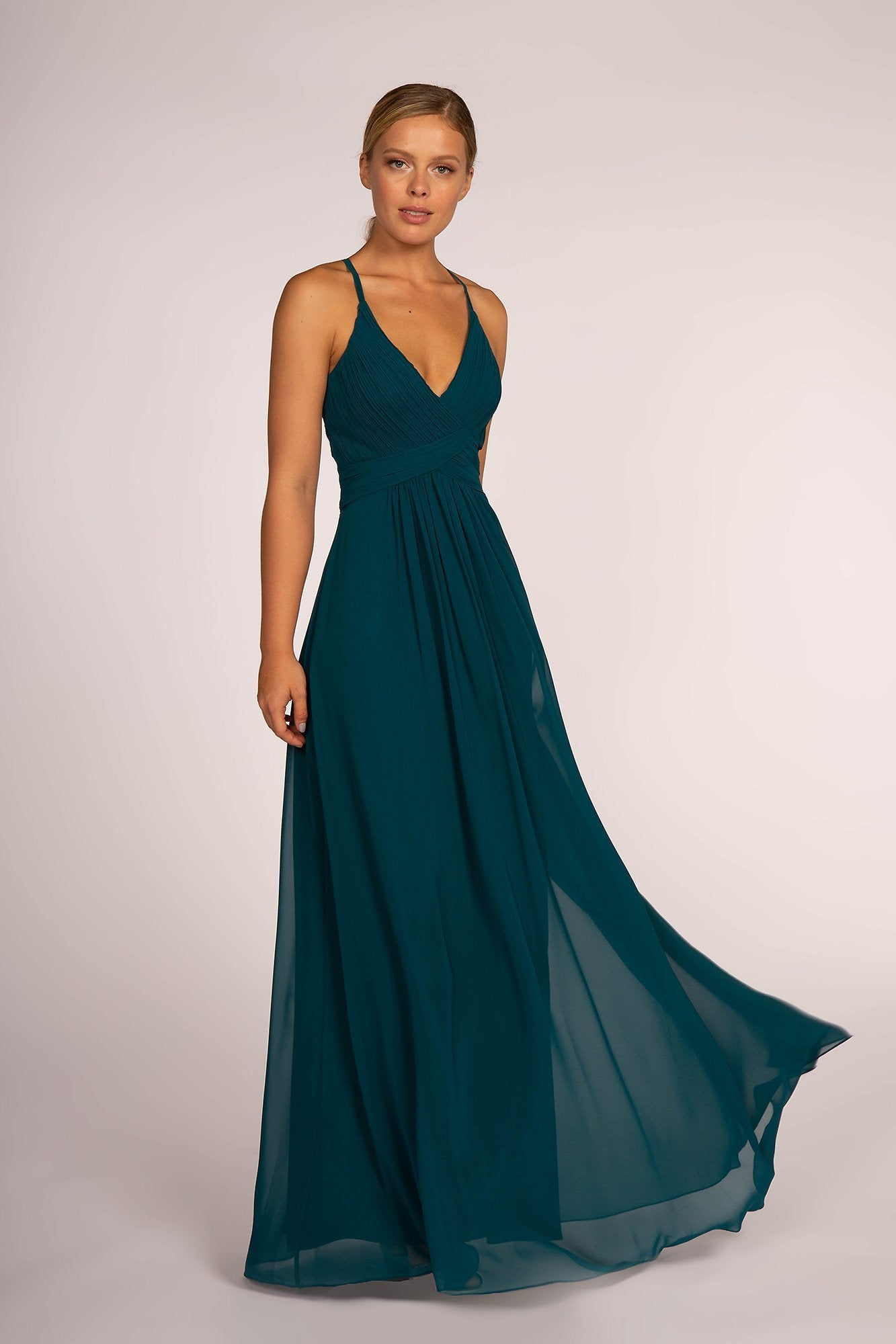 Elizabeth K - Plunging Crisscross Pleated Bodice A-Line Gown GL2609 In Green