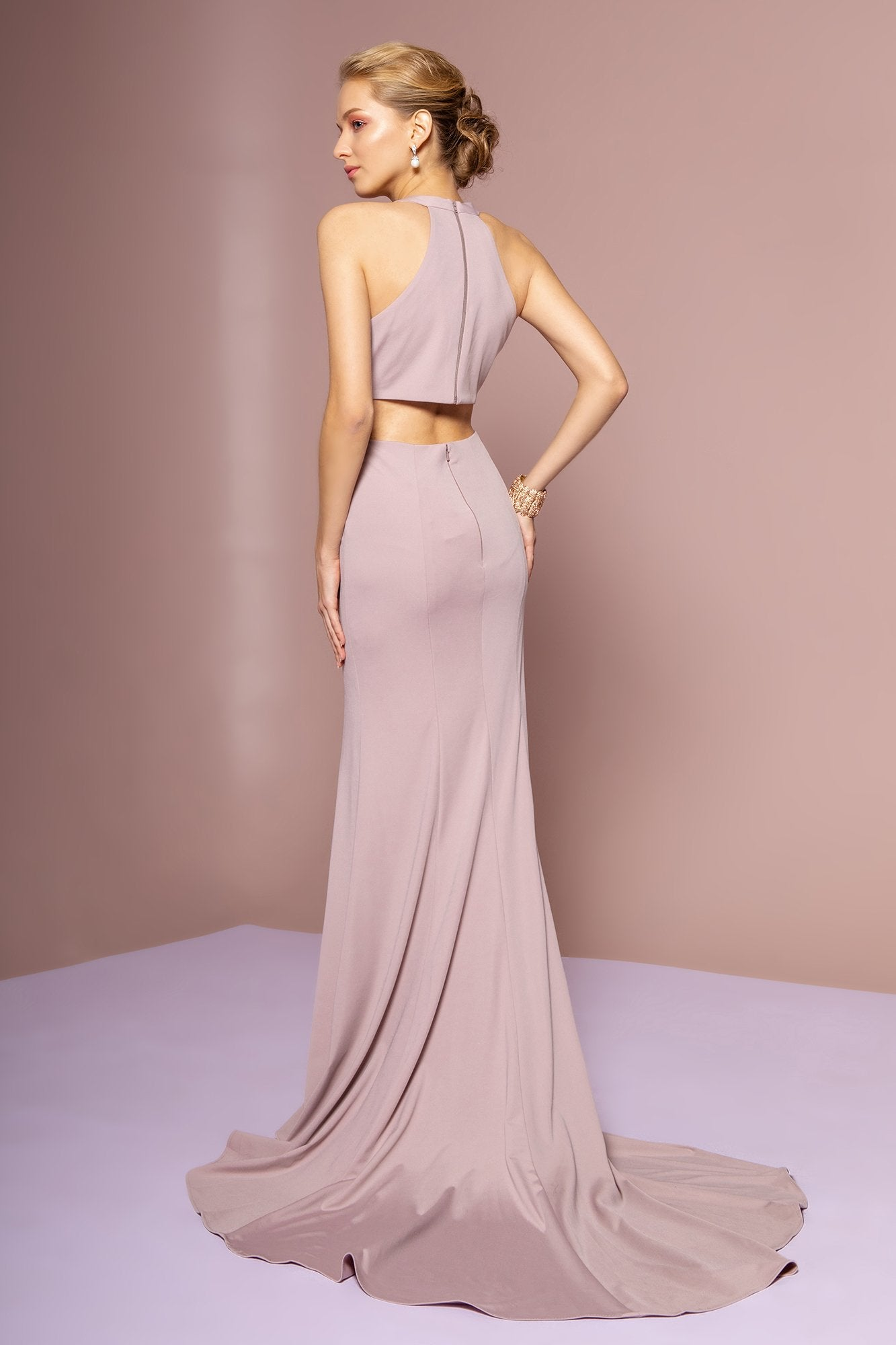 Elizabeth K - GL2668 Plunging Halter Dress with Slit In Purple