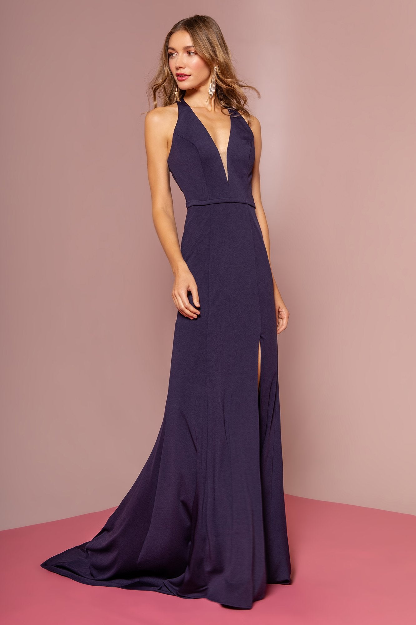 Elizabeth K - GL2668 Plunging Halter Dress with Slit In Blue