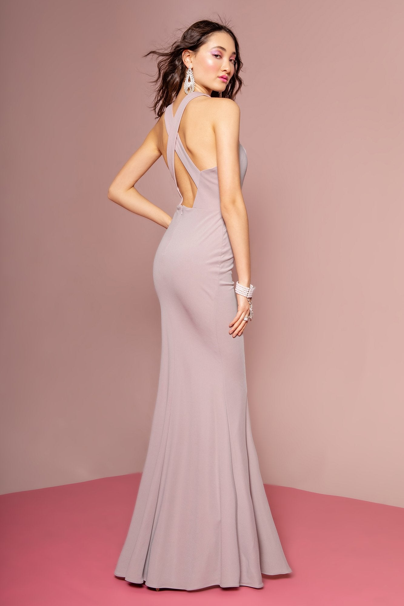 Elizabeth K - GL2669 Halter Evening Dress with Slit In Purple