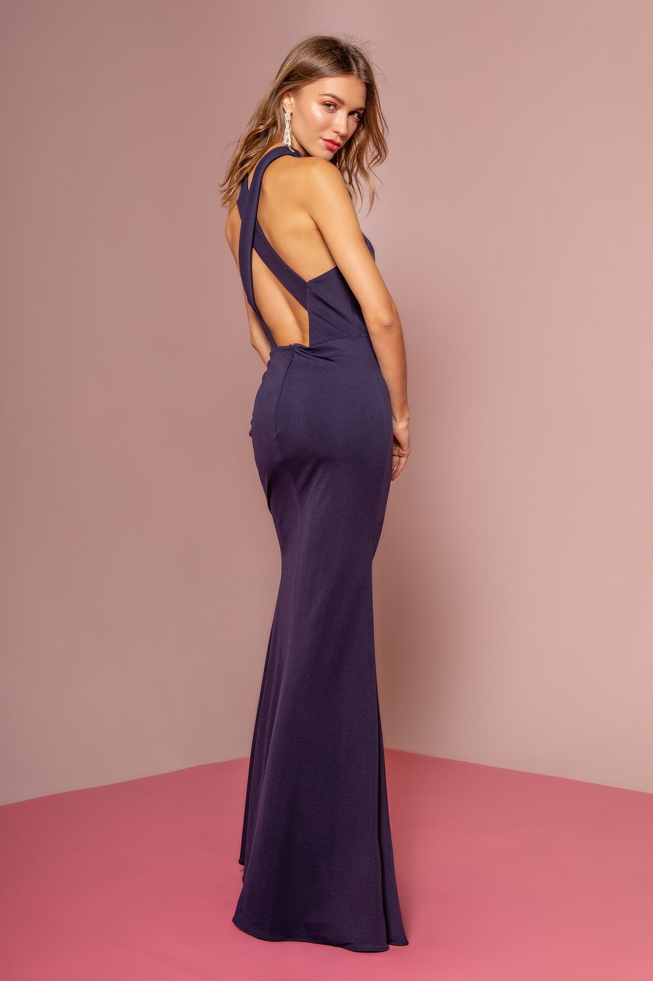 Elizabeth K - GL2669 Halter Evening Dress with Slit In Blue