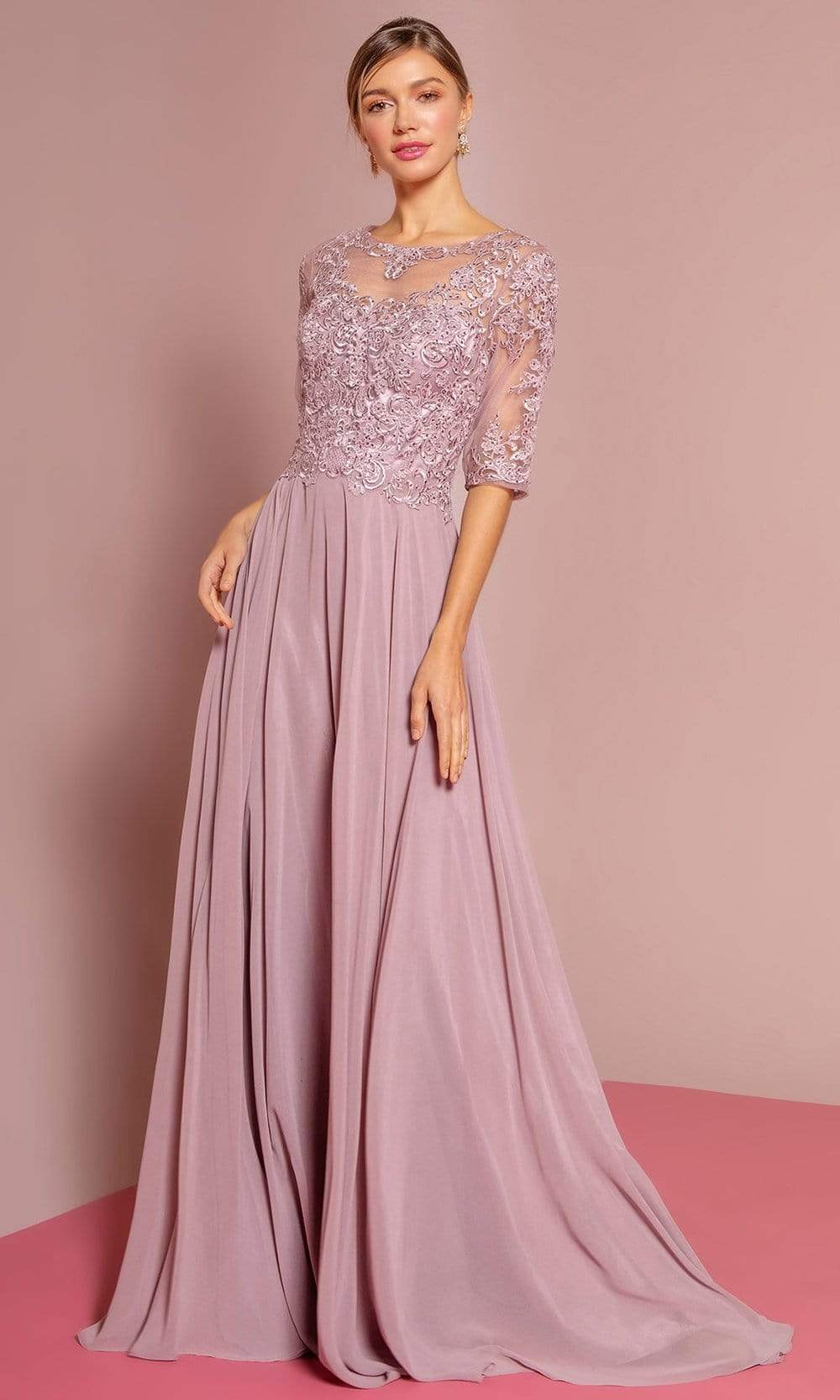 Elizabeth K - GL2681 Half Sleeve Embroidered Illusion Lace Gown Special Occasion Dress XS / Mauve