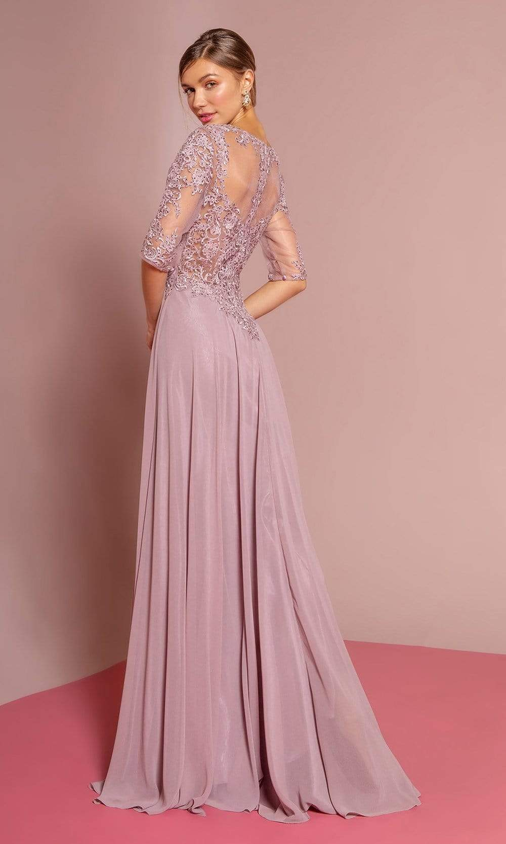 Elizabeth K - GL2681 Half Sleeve Embroidered Illusion Lace Gown Special Occasion Dress