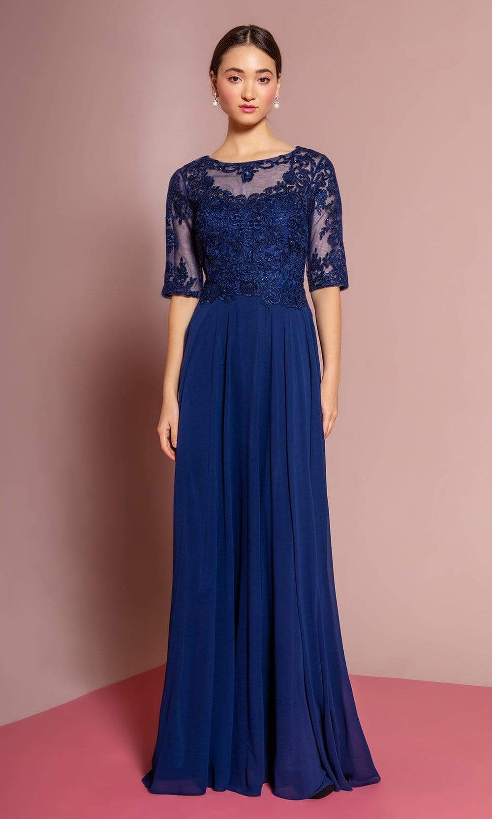 Elizabeth K - GL2681 Half Sleeve Embroidered Illusion Lace Gown Special Occasion Dress XS / Navy