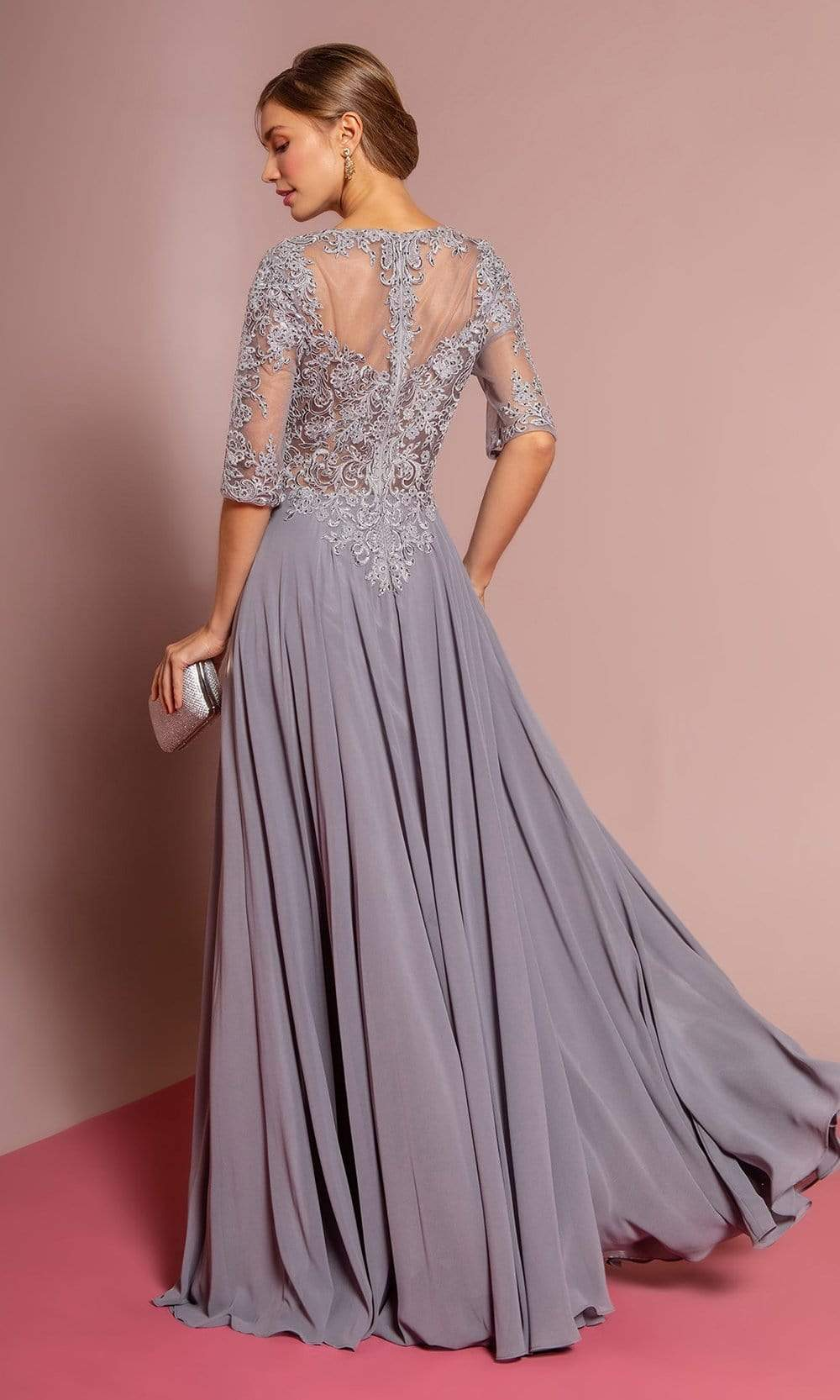 Elizabeth K - GL2681 Half Sleeve Embroidered Illusion Lace Gown Special Occasion Dress XS / Silver