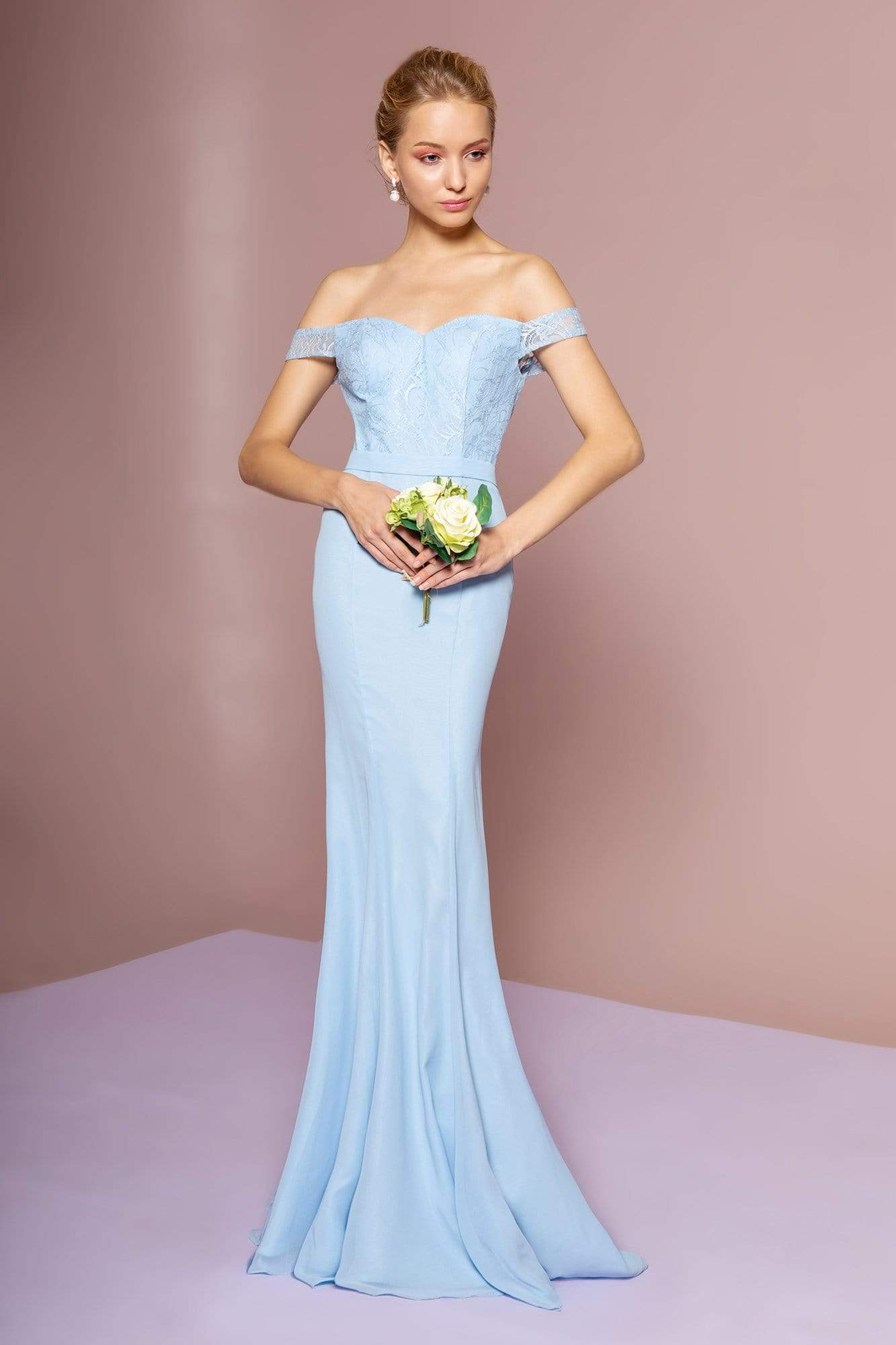 Elizabeth K - GL2697 Off Shoulder Lace Bodice Mermaid Gown Special Occasion Dress XS / Baby Blue