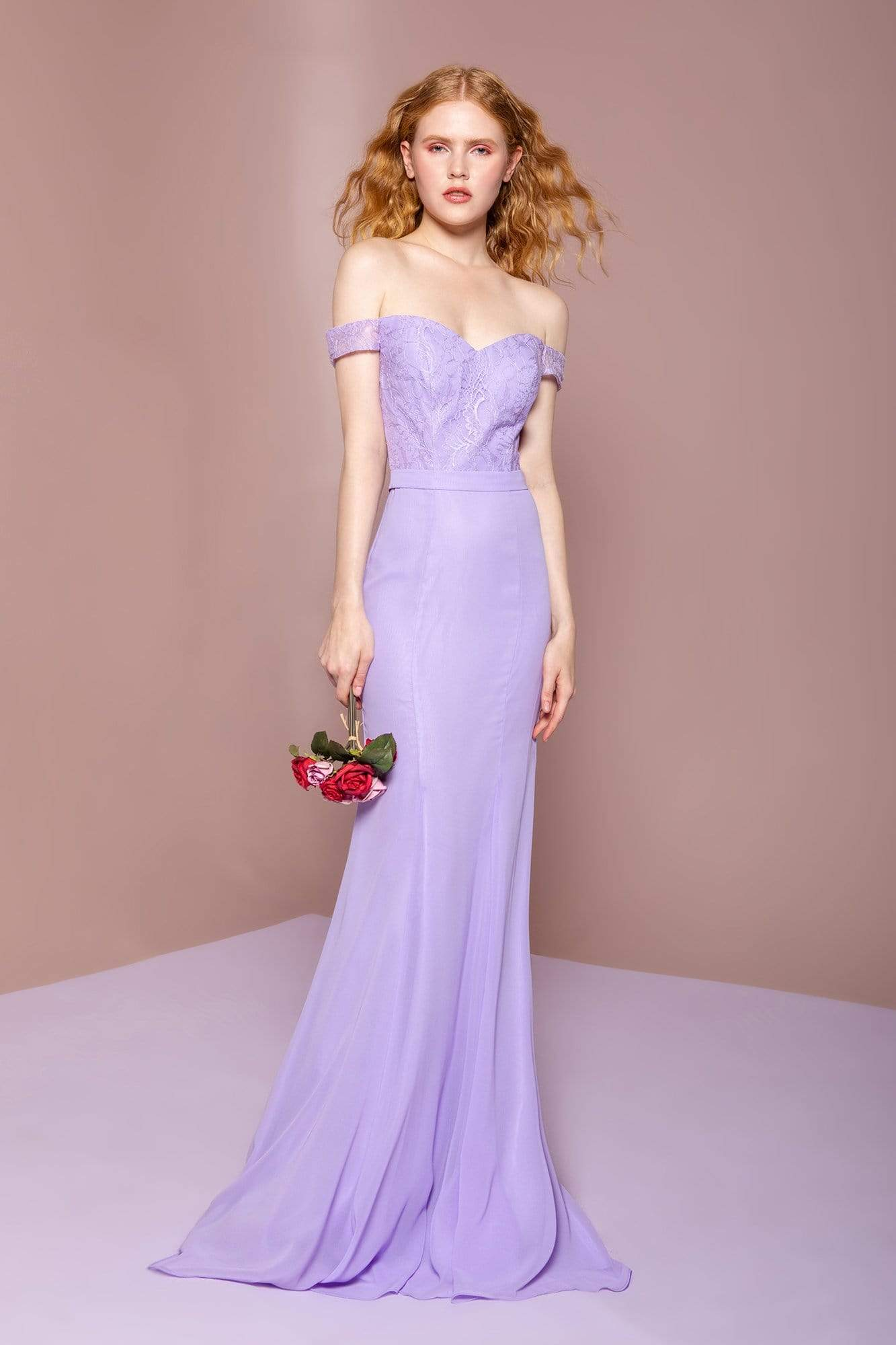 Elizabeth K - GL2697 Off Shoulder Lace Bodice Mermaid Gown Special Occasion Dress XS / Lilac