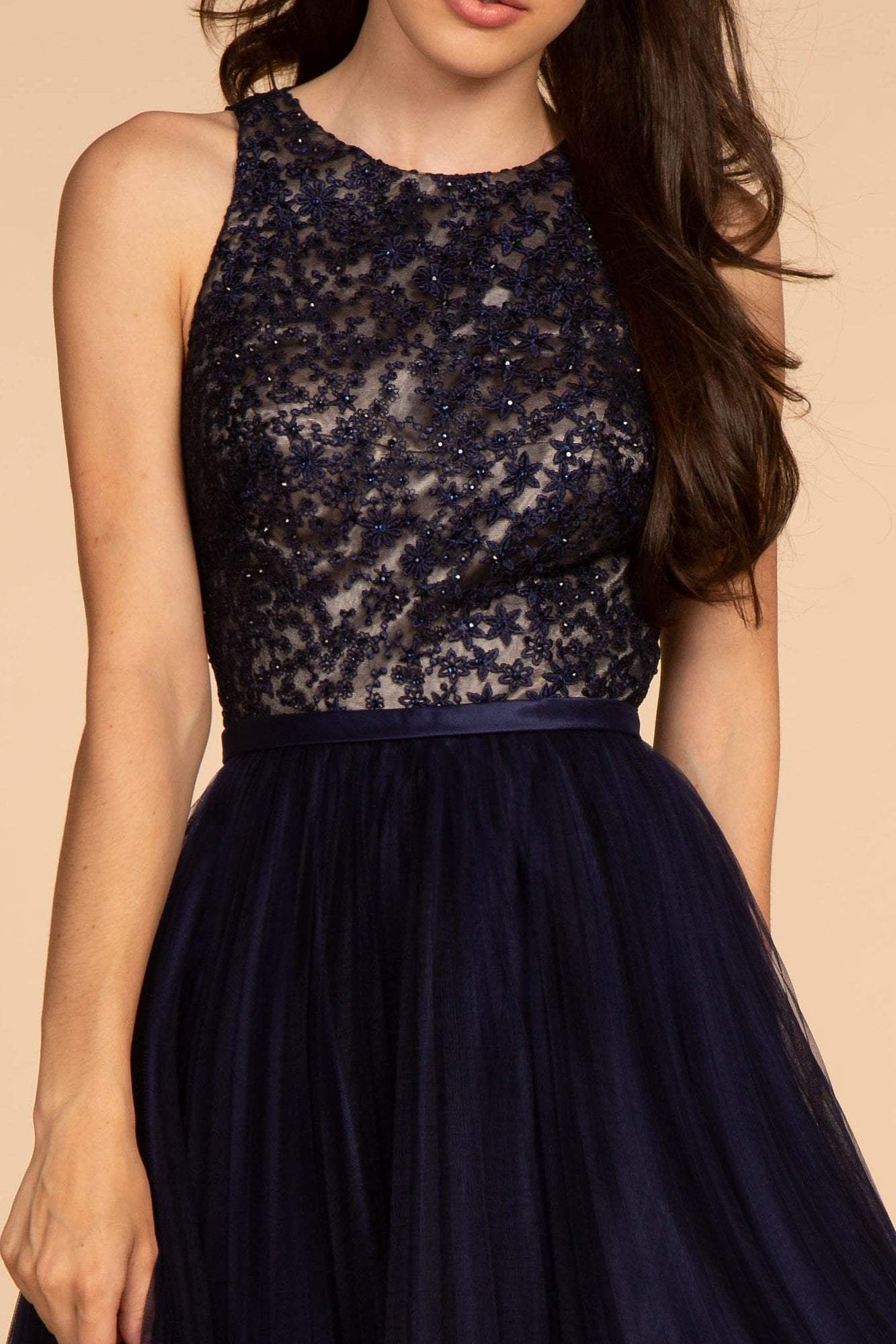 Elizabeth K - GS1610 Embroidered Pleated A-Line Cocktail Dress In Blue