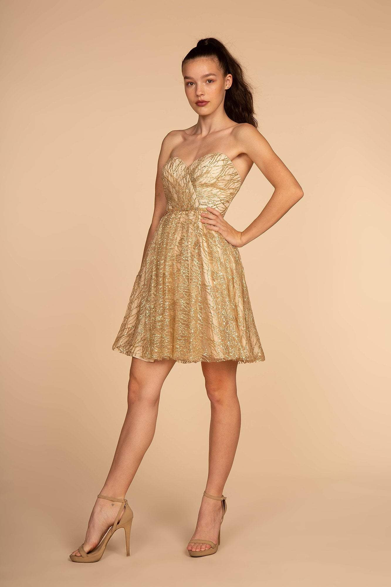 Elizabeth K - GS1627 Strapless Glitter A-Line Cocktail Dress Special Occasion Dress XS / Champagne
