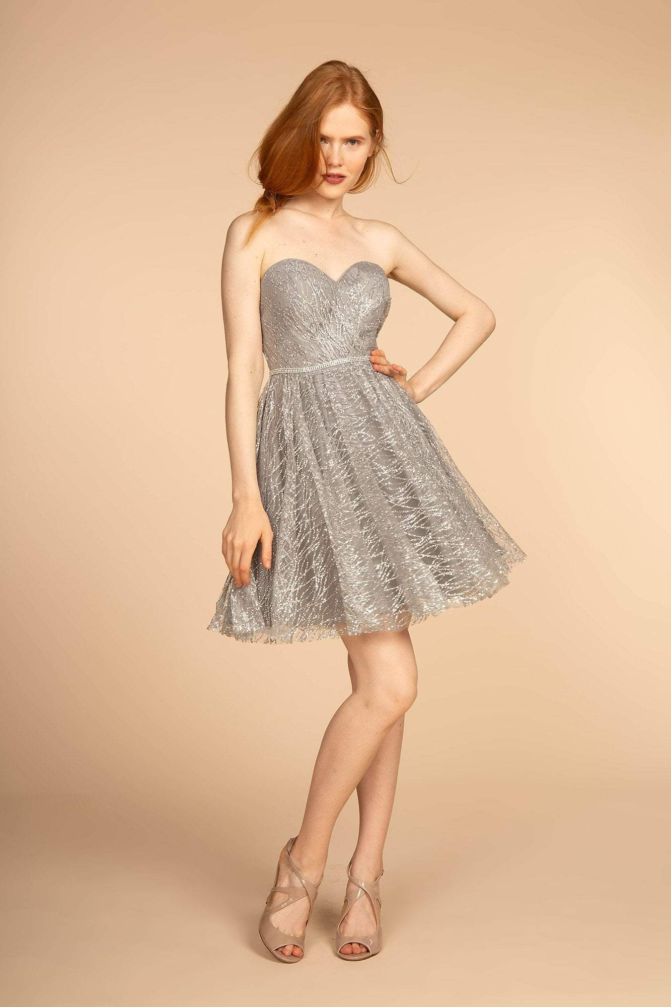 Elizabeth K - GS1627 Strapless Glitter A-Line Cocktail Dress Special Occasion Dress XS / Silver