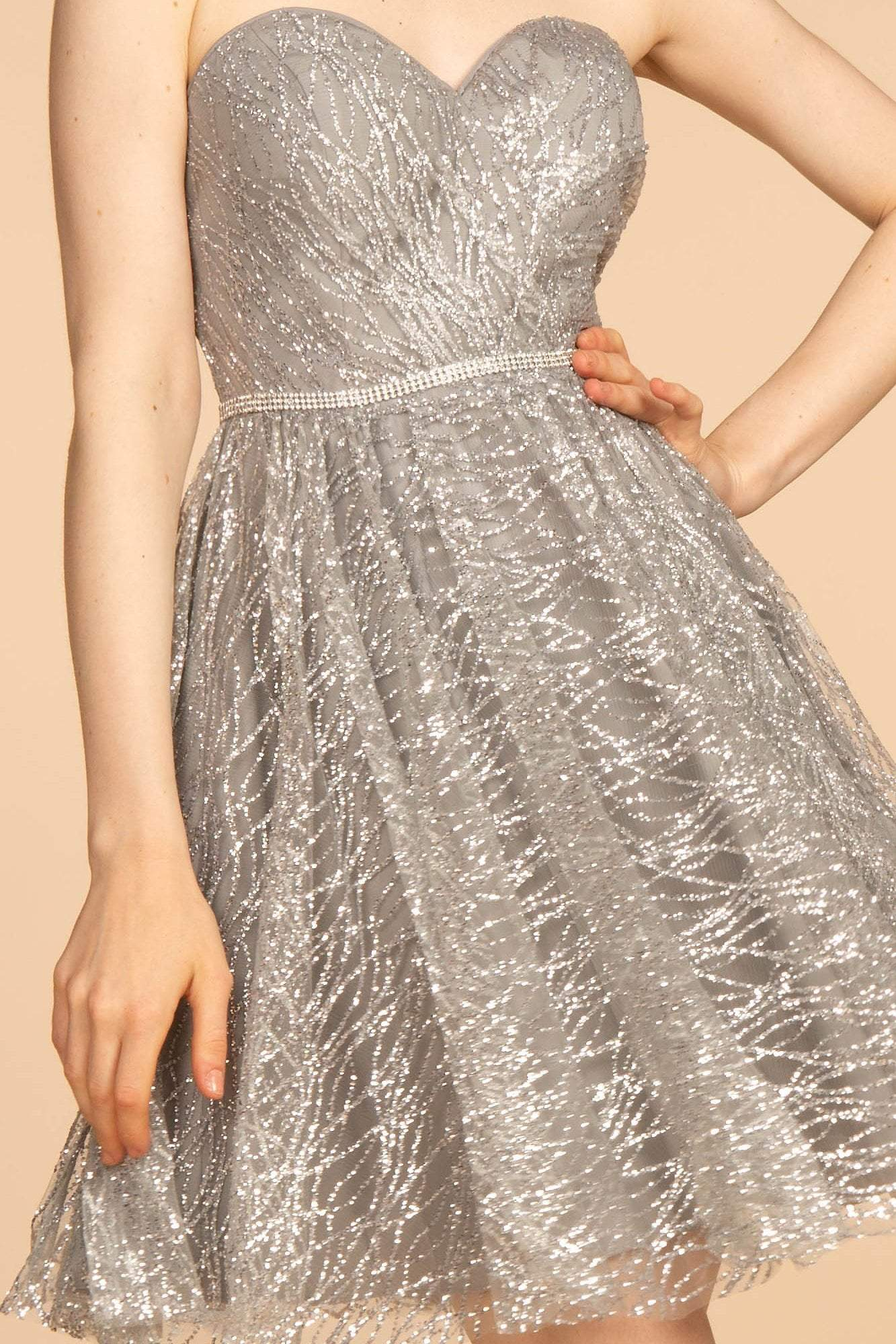 Elizabeth K - GS1627 Strapless Glitter A-Line Cocktail Dress Special Occasion Dress