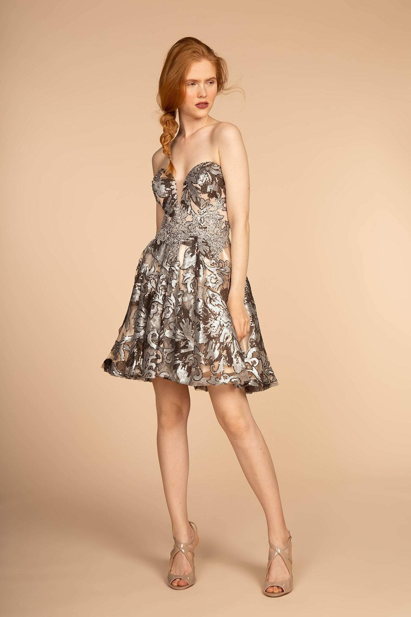 Elizabeth K - GS1632 Sequin Embellished Sweetheart Cocktail Dress Special Occasion Dress XS / Silver