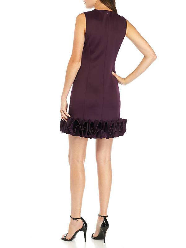 Donna Ricco - DR50182 Sleeveless Ruffle Hem Cocktail Dress in Black in Purple